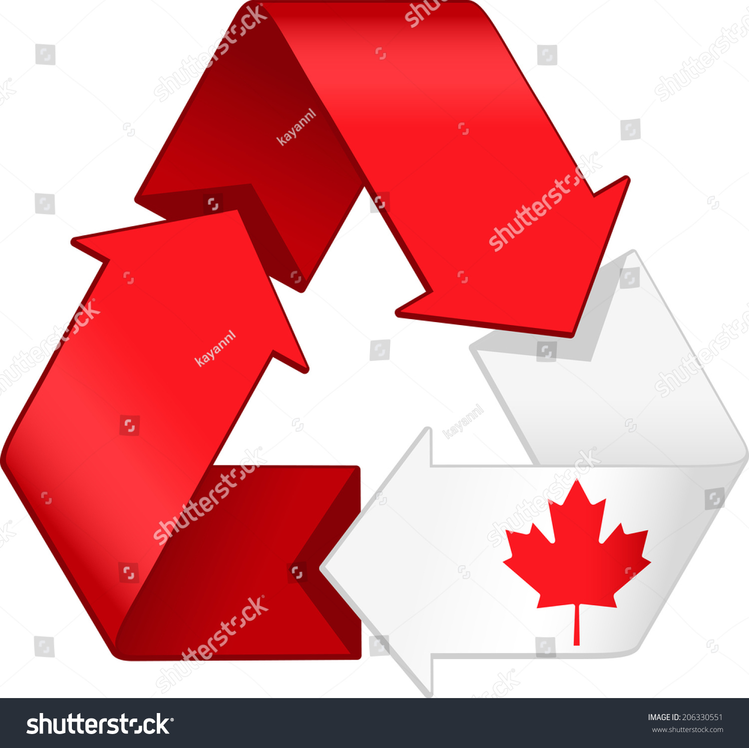 Canadian Flag Merged Recycling Graphic Stock Vector 206330551