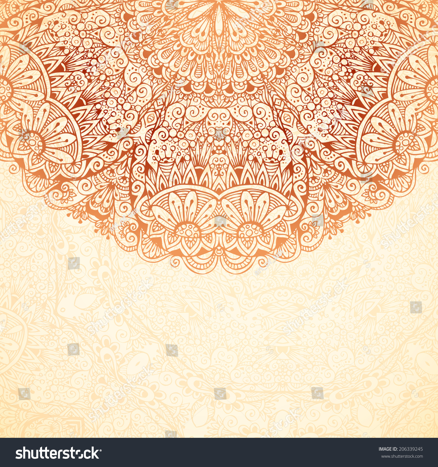 Ornate vintage vector background in mehndi style royalty free stock - Ornate Vintage Background In Mehndi Style With Place For Your Text