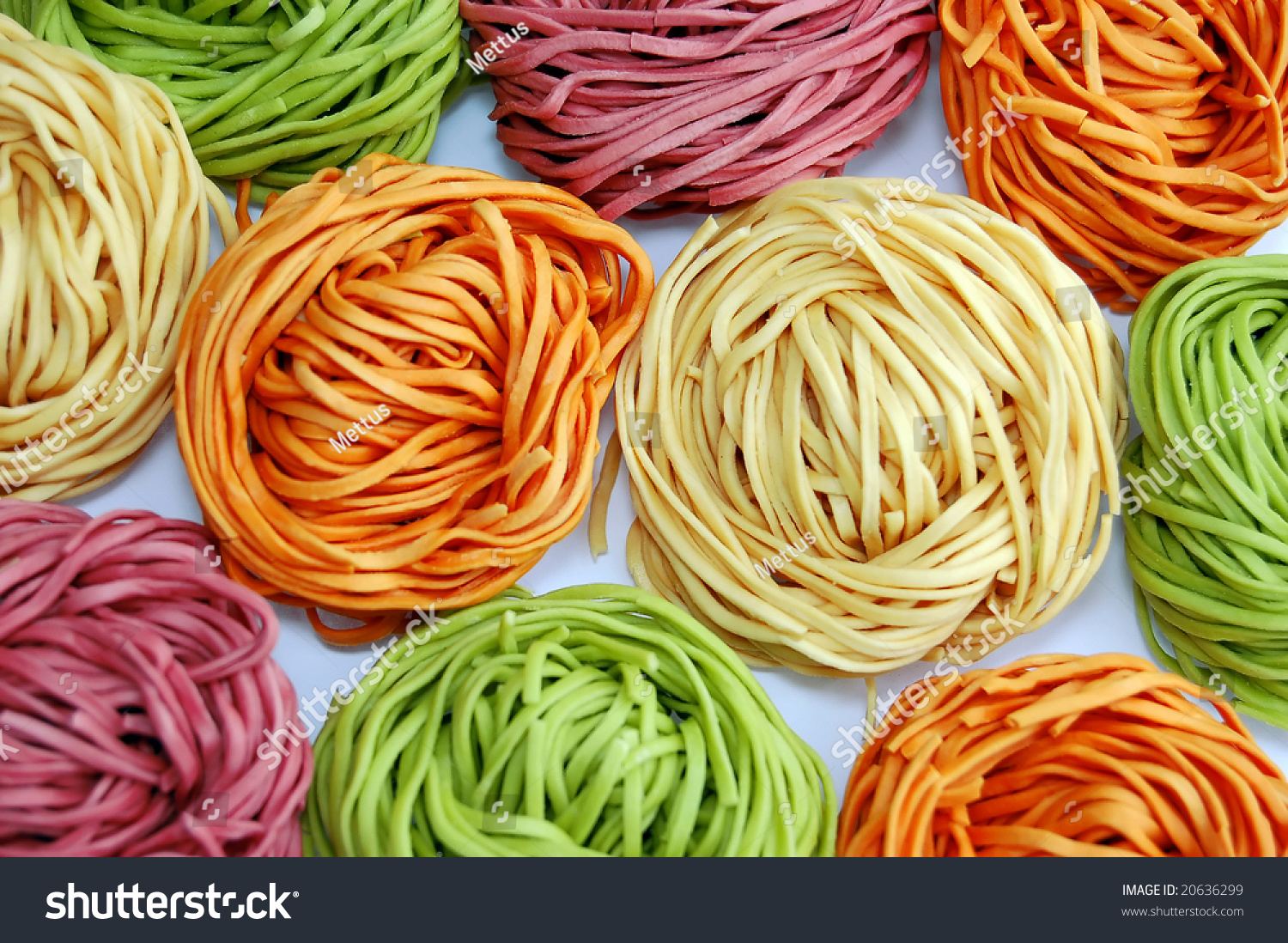 colored pasta or colored noodles redy for cooking