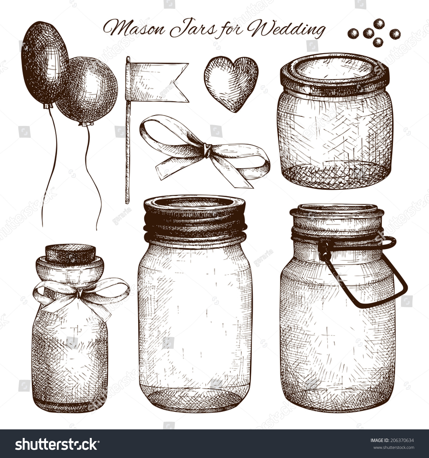 Vector Collection Of Ink Hand Drawn Mason Jars For Wedding ...