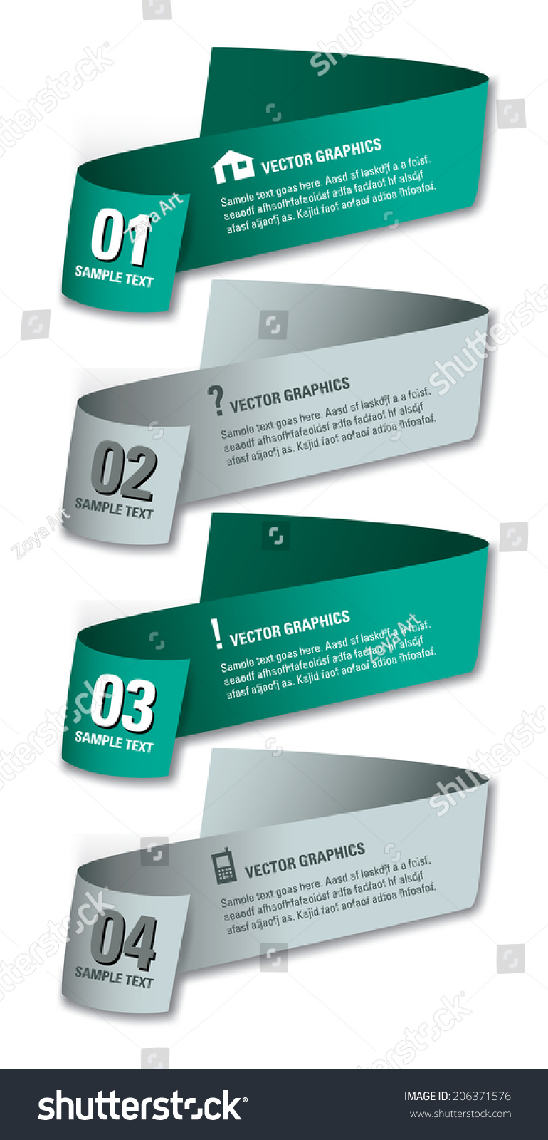 3d Numbered Banners Eps10 Vector Design Stock Vector 206371576 ...