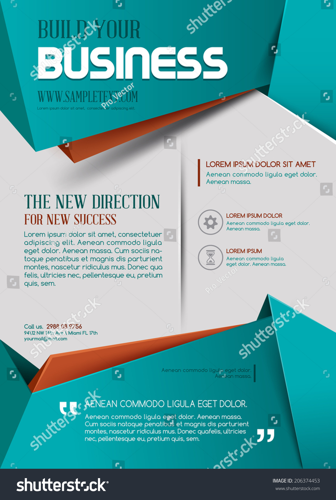 business template poster turquoise color stock vector royalty free