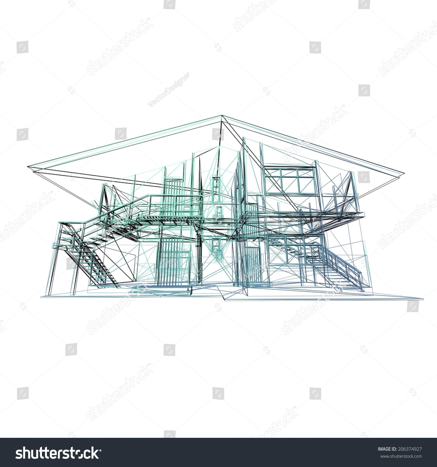 Modern Architecture Concept: Abstract Architectural 3d Construction. Concept