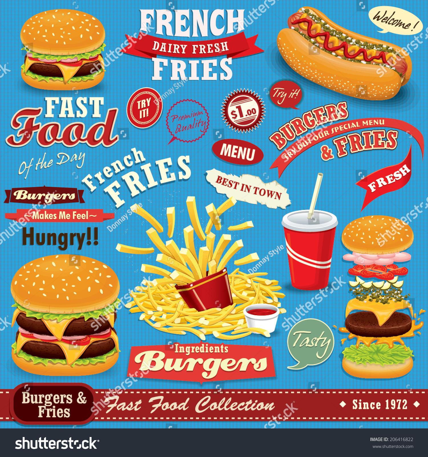 Vintage Fast Food Poster Set Design Stock Vector 206416822 ...