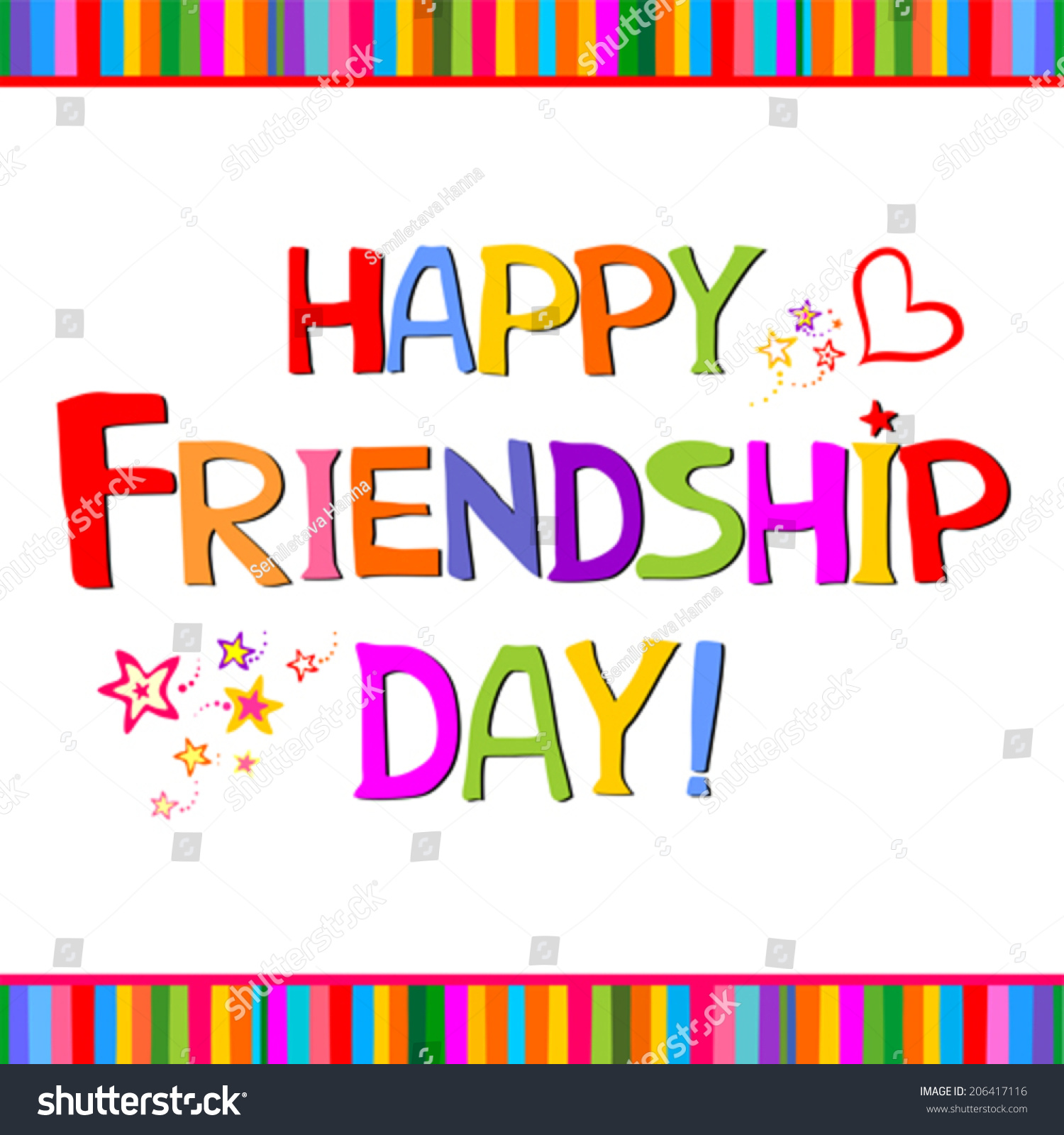 Beautiful Happy Friendship Day Text Design Stock Vector