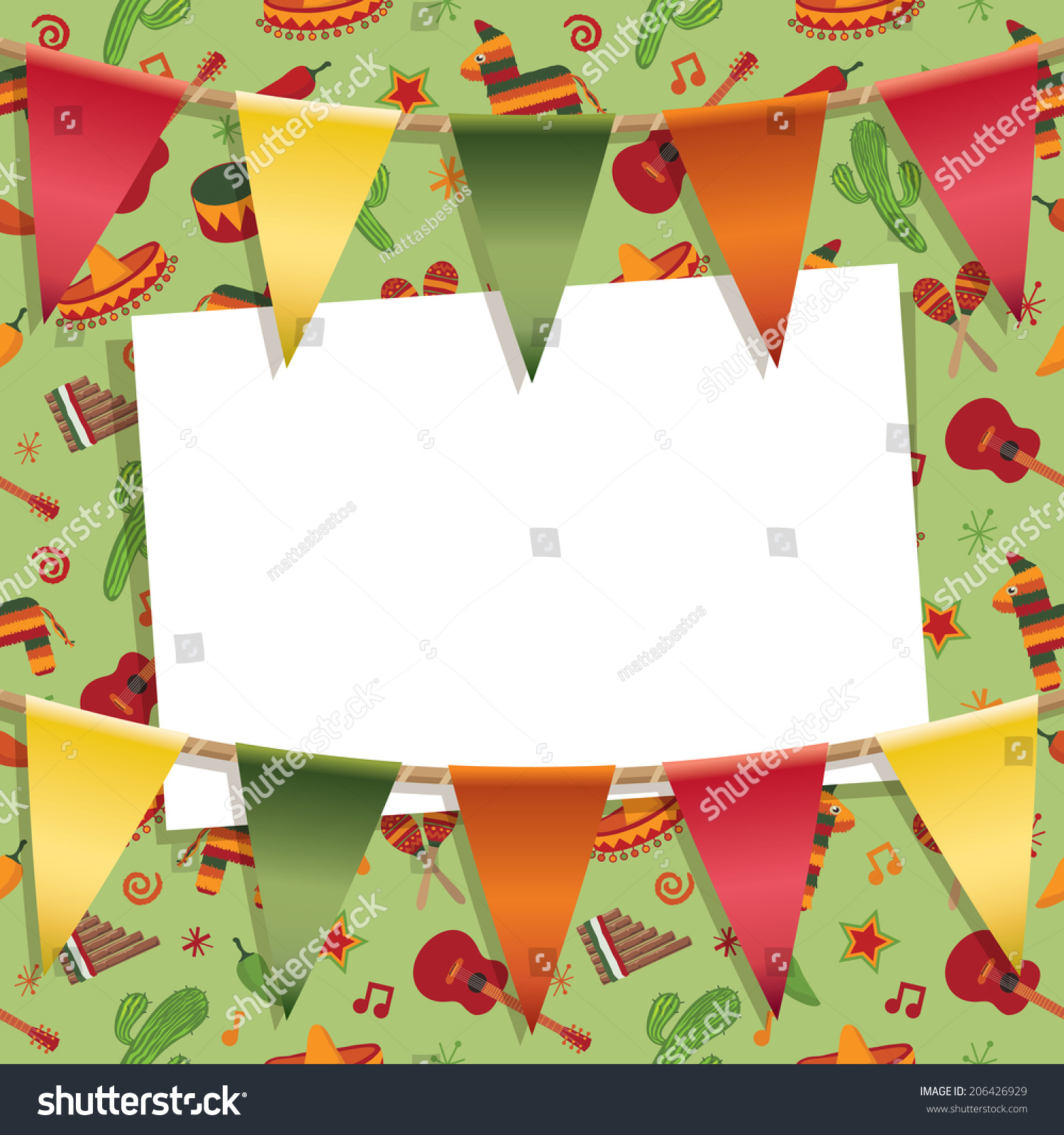 Mexican Party Card Decoration Background Pattern Stock Vector