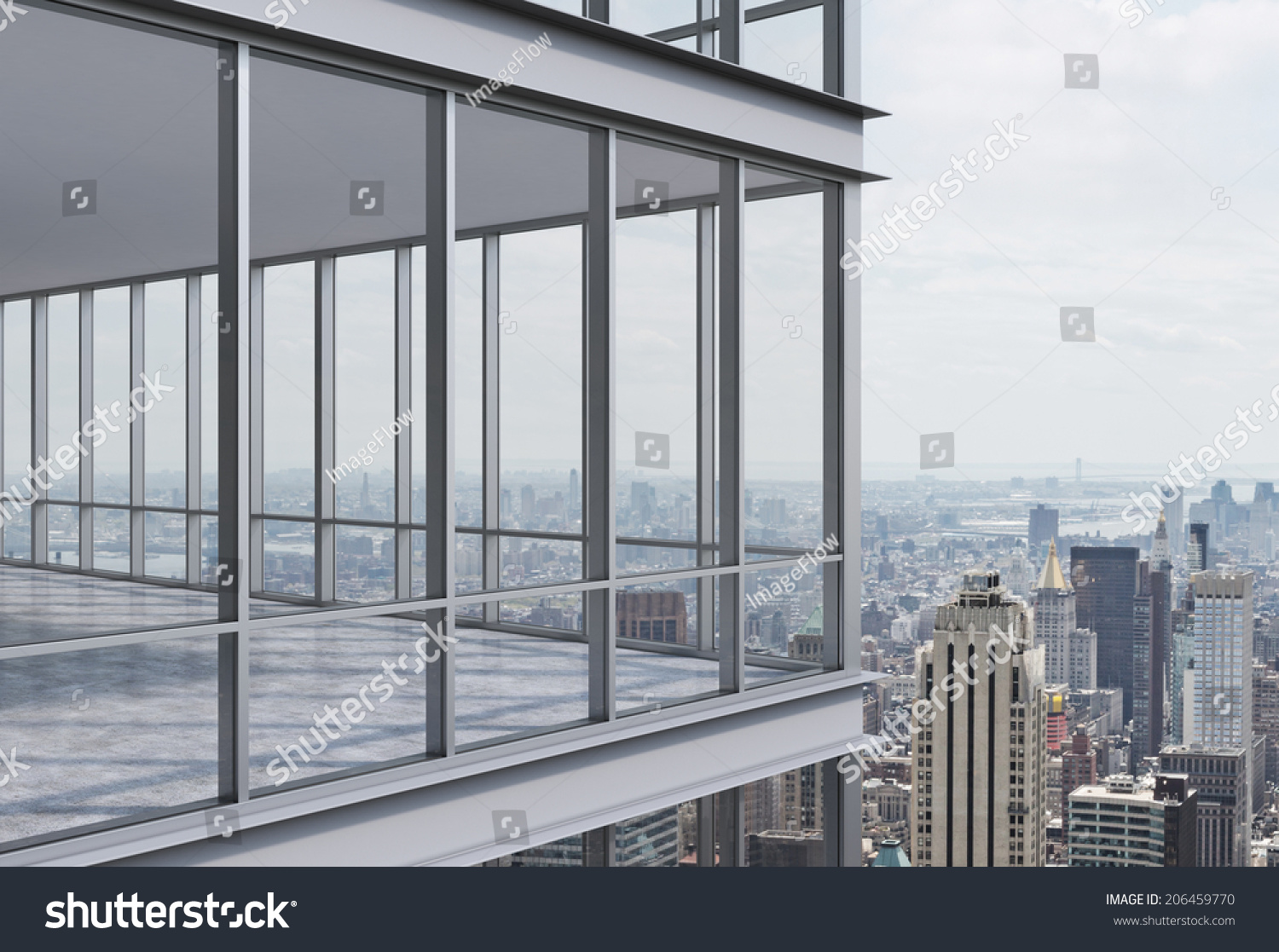Corner Modern Corporate Skyscraper Panoramic Office Stock