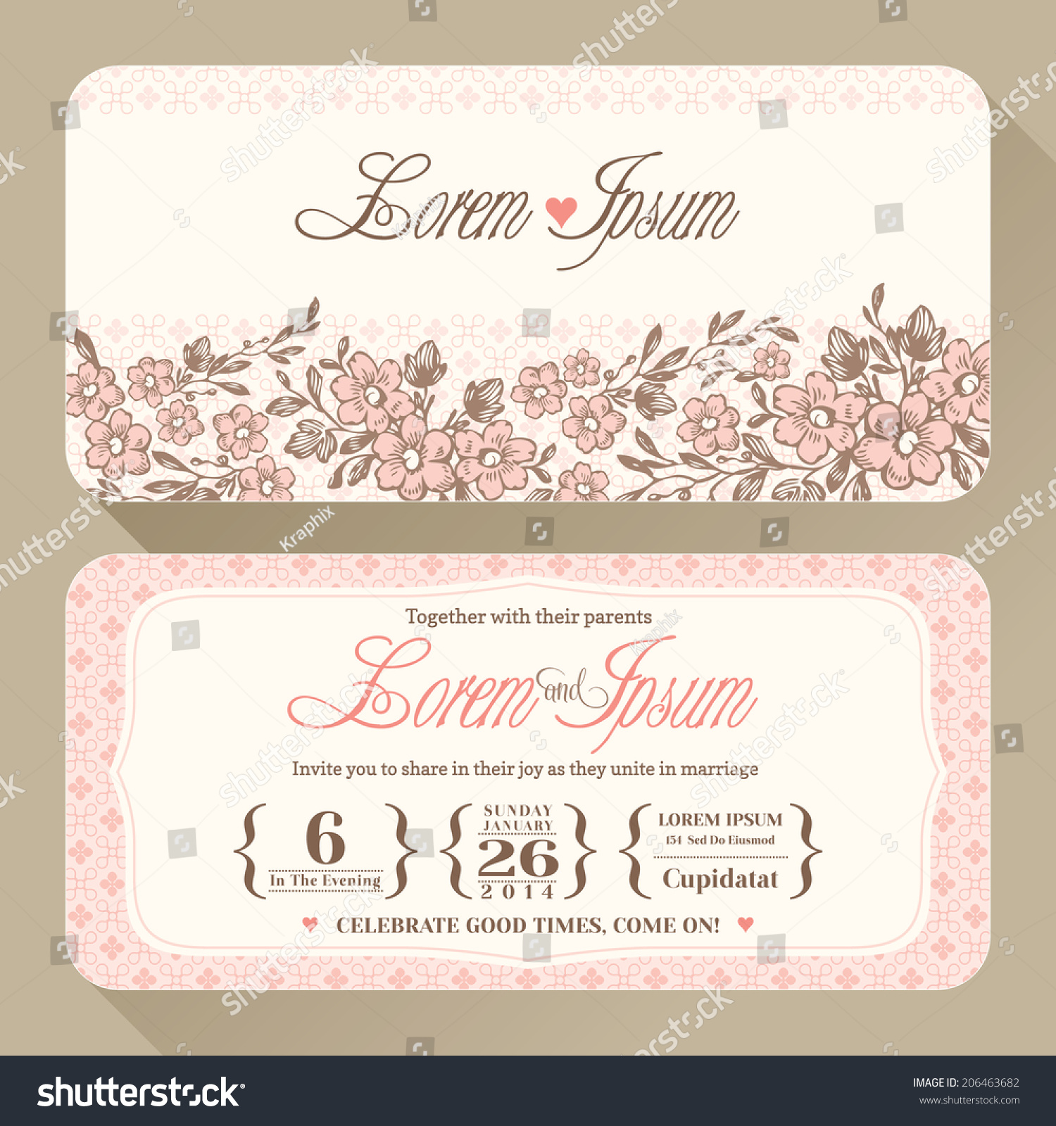 Vintage floral wedding invitation card design stock vector 206463682 vintage floral wedding invitation card design template stopboris Choice Image