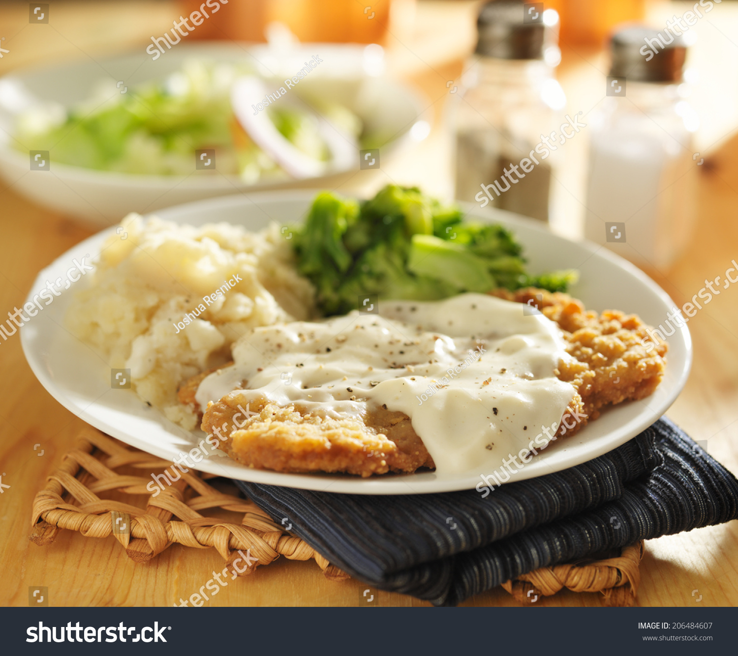 Country Fried Steak Southern Style Peppered Stock Photo ...