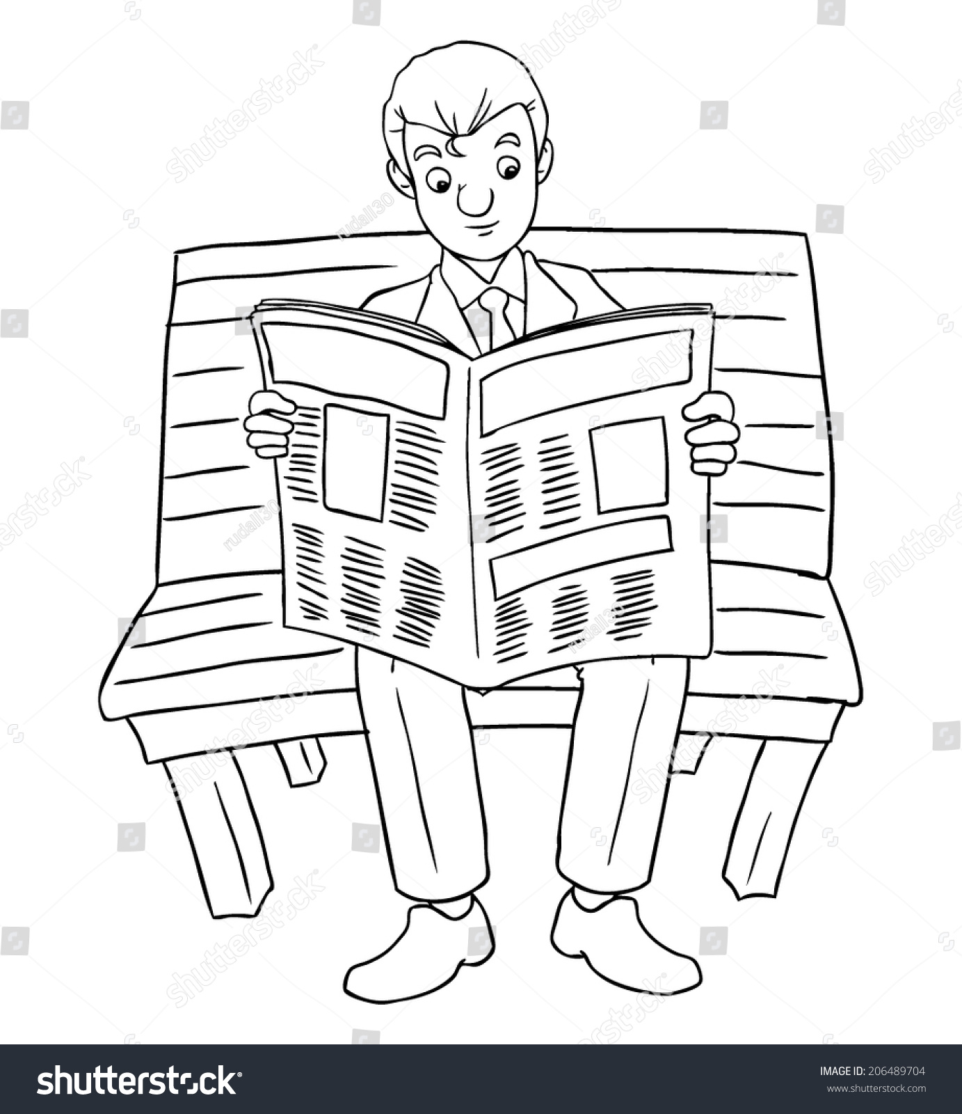 cartoon illustration businessman reading newspaper on stock vector