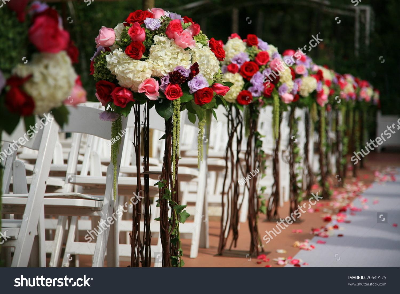 Beautiful Wedding Flower Arrangement Of Seats Along The