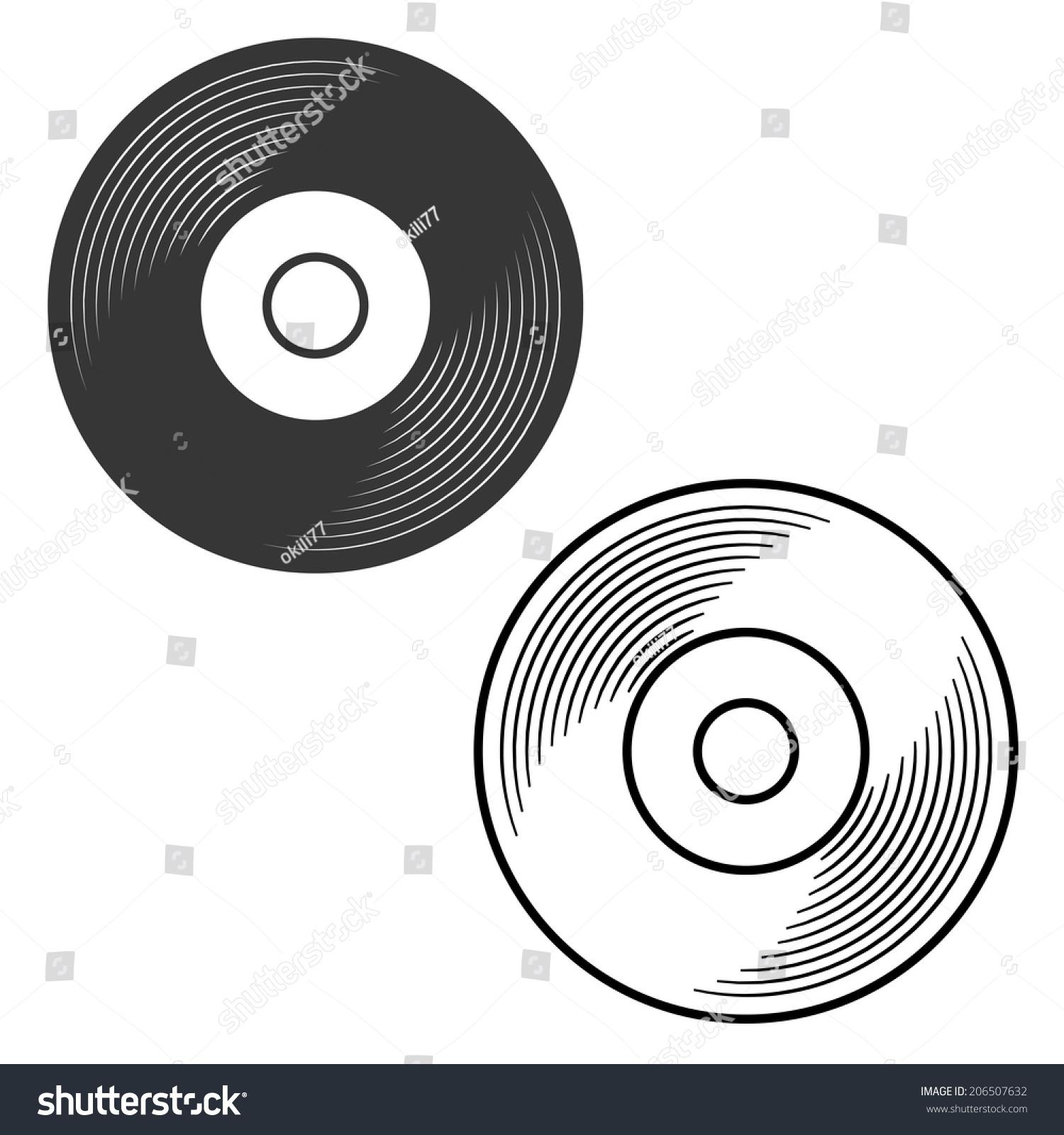 Vinyl Record Silhouette Outline Illustration Vector Stock