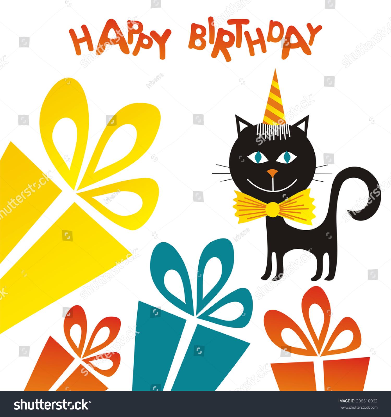 Happy Birthday Greeting Card Cat Gifts Stock Illustration 206510062