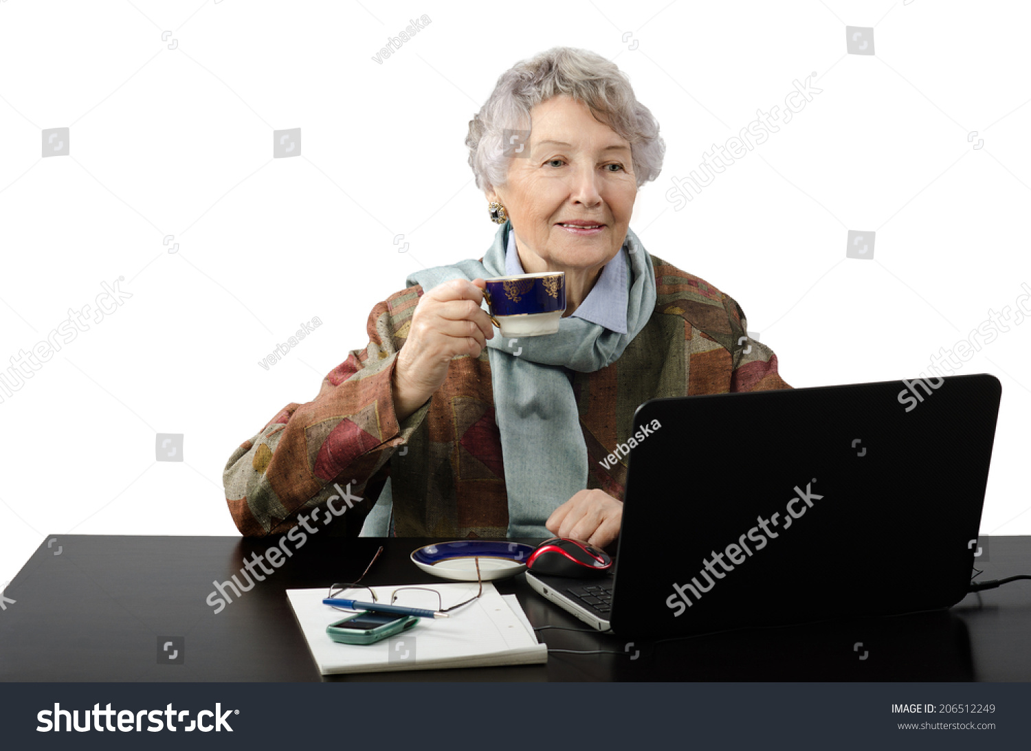 Aged Grey Haired Lady Works Freelance Stock Photo (Edit Now