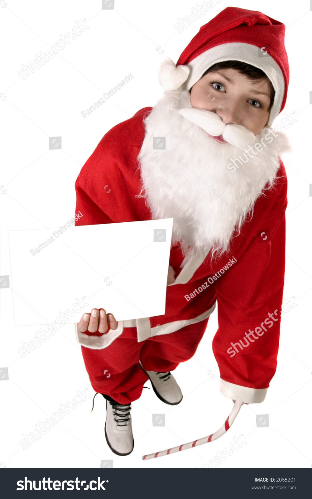 young woman in a red and white santa fancy dress - White Santa Claus