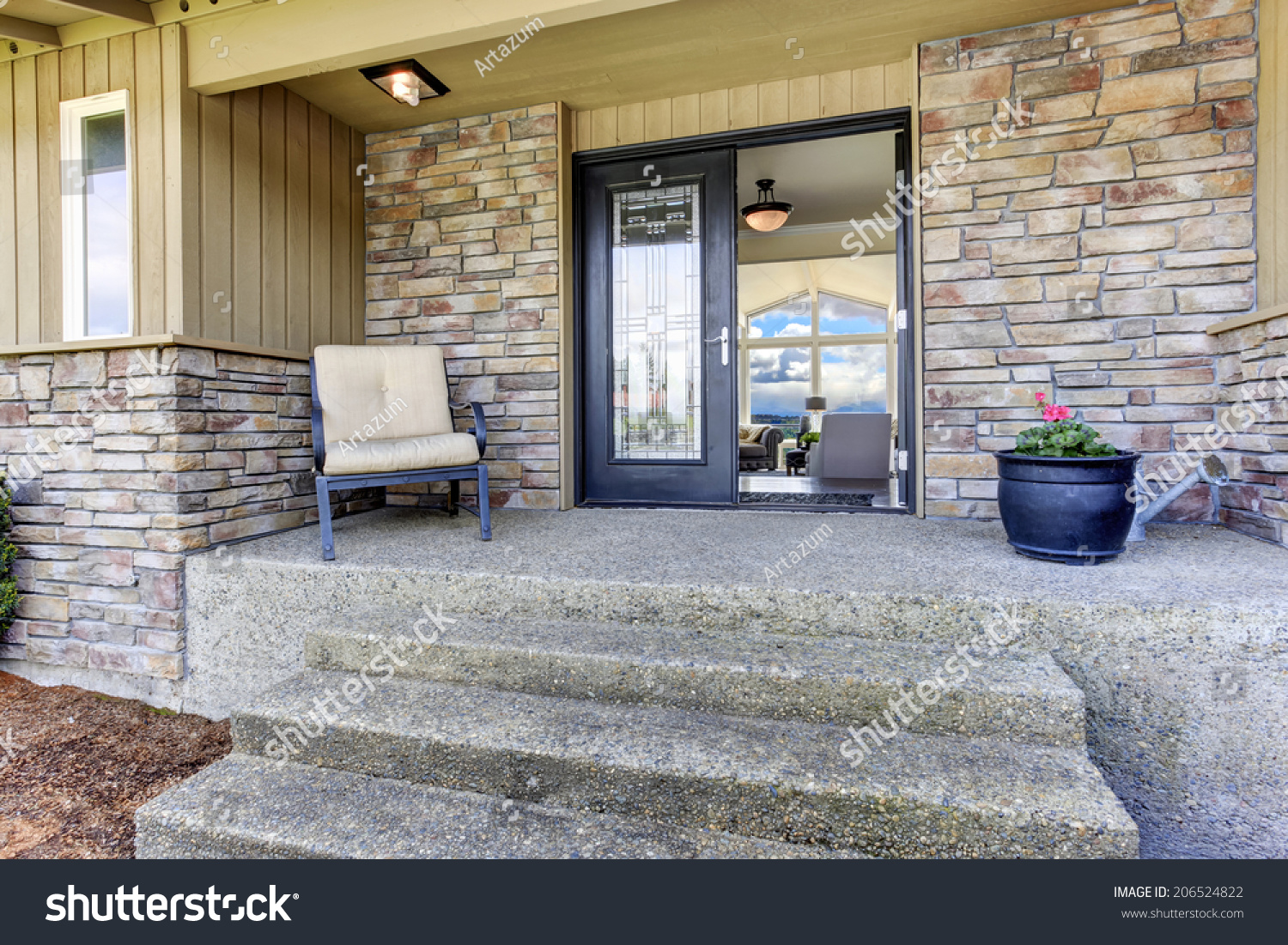 View House Entrance Porch Stone Wall Stock Photo 206524822 ...