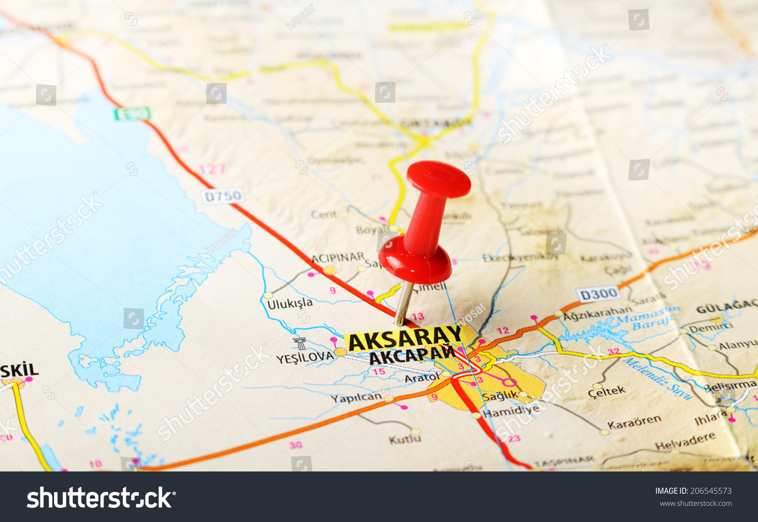 Close Aksaray Turkey Map Red Pin Stock Photo Royalty Free