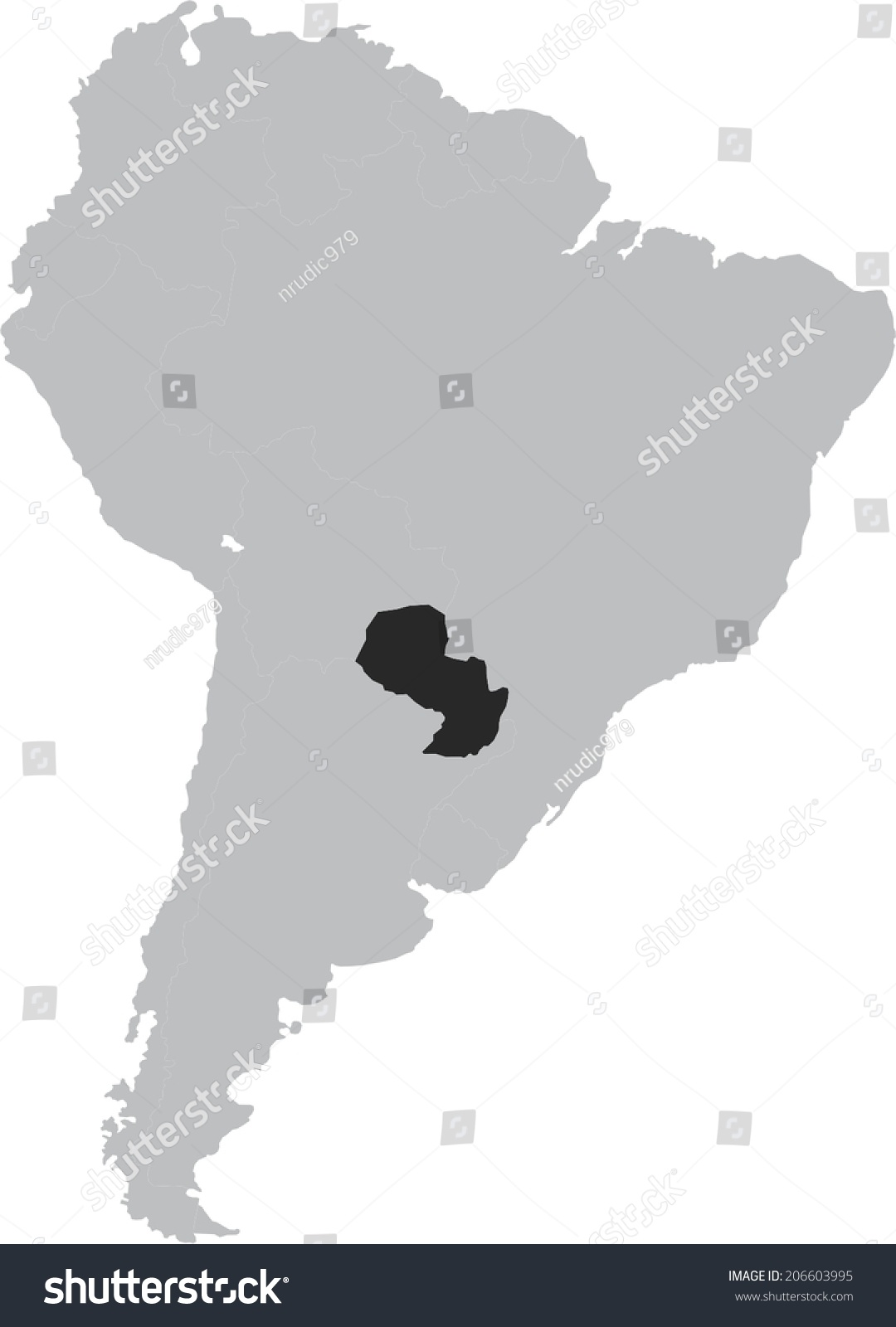 Paraguay Vector Map On South America Stock Vector 206603995