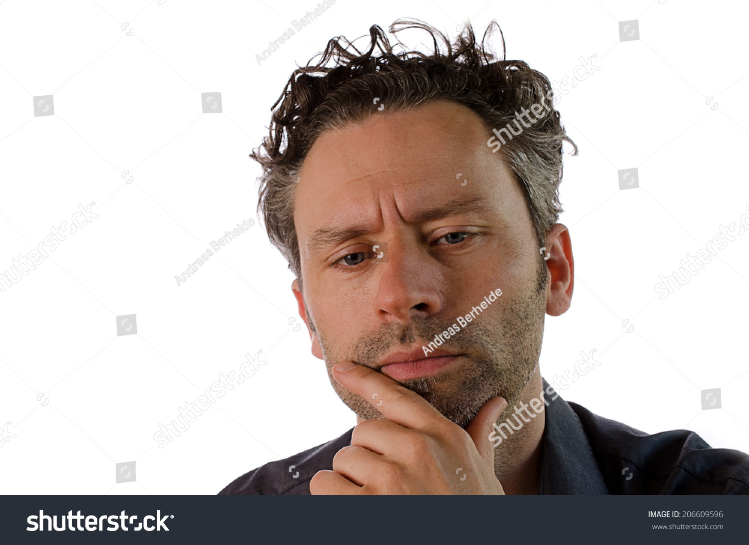 Portrait Sad Man Thinking On White Stock Photo 206609596 ...