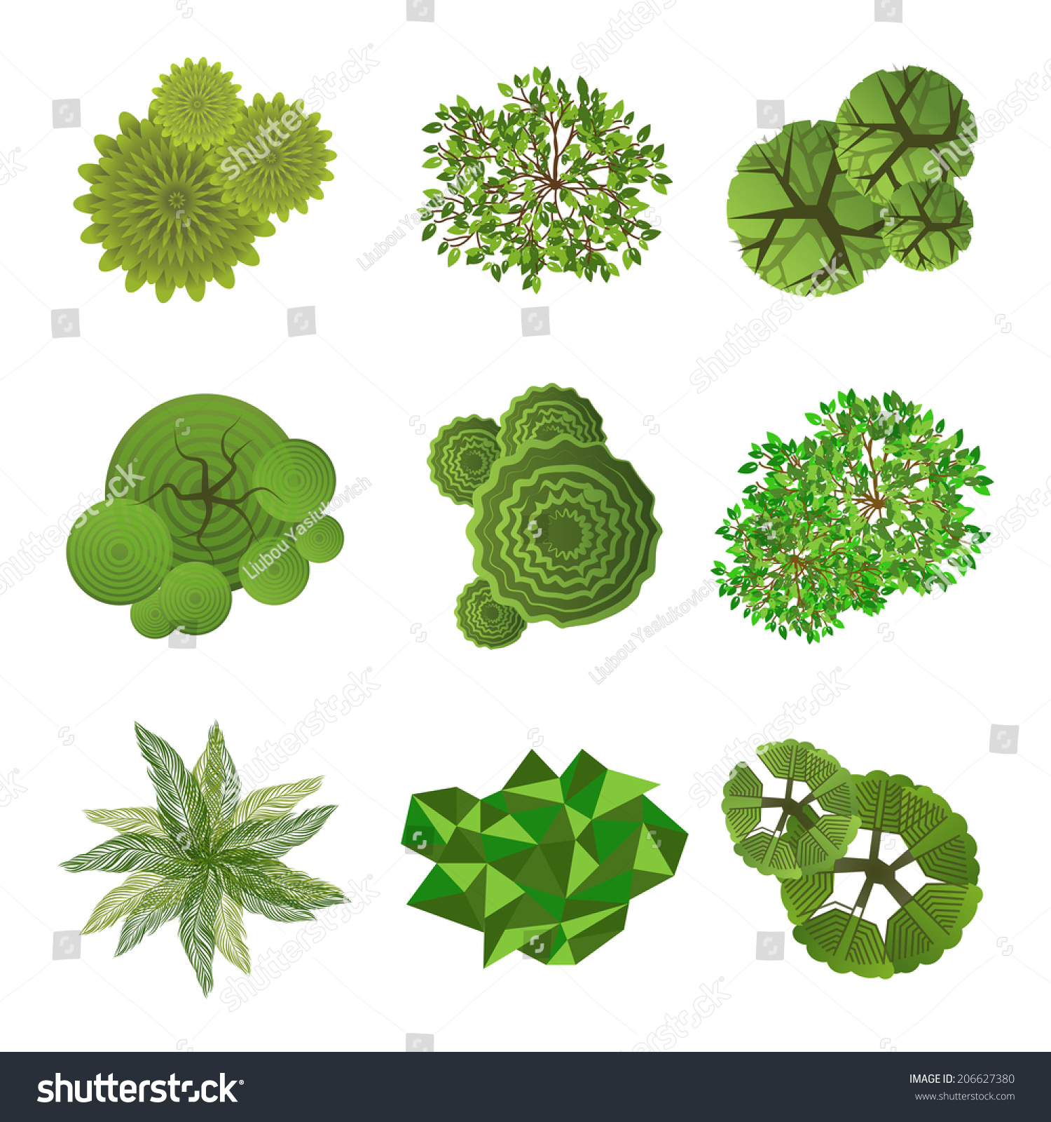 Trees top view landscape design use stock vector 206627380 for Top view design