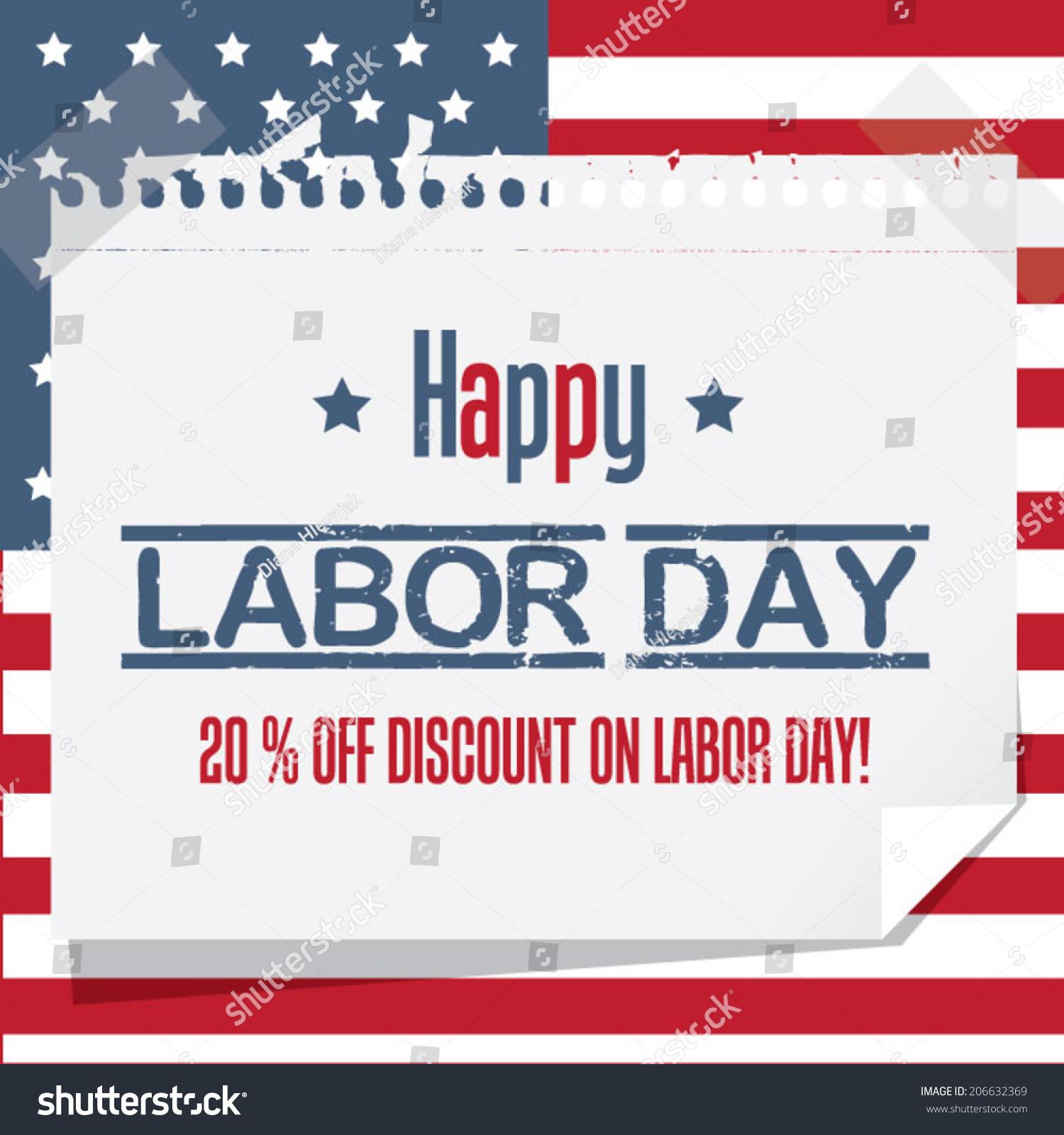 Happy Labor Day Discount Wallpaper Stock Vector 206632369