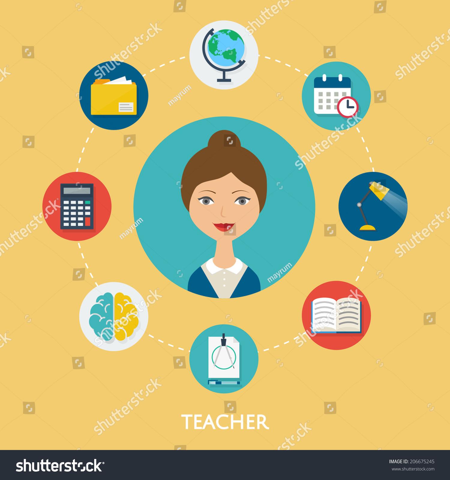 Teacher Character Illustration Icons Vector Flat Stock Vector ...