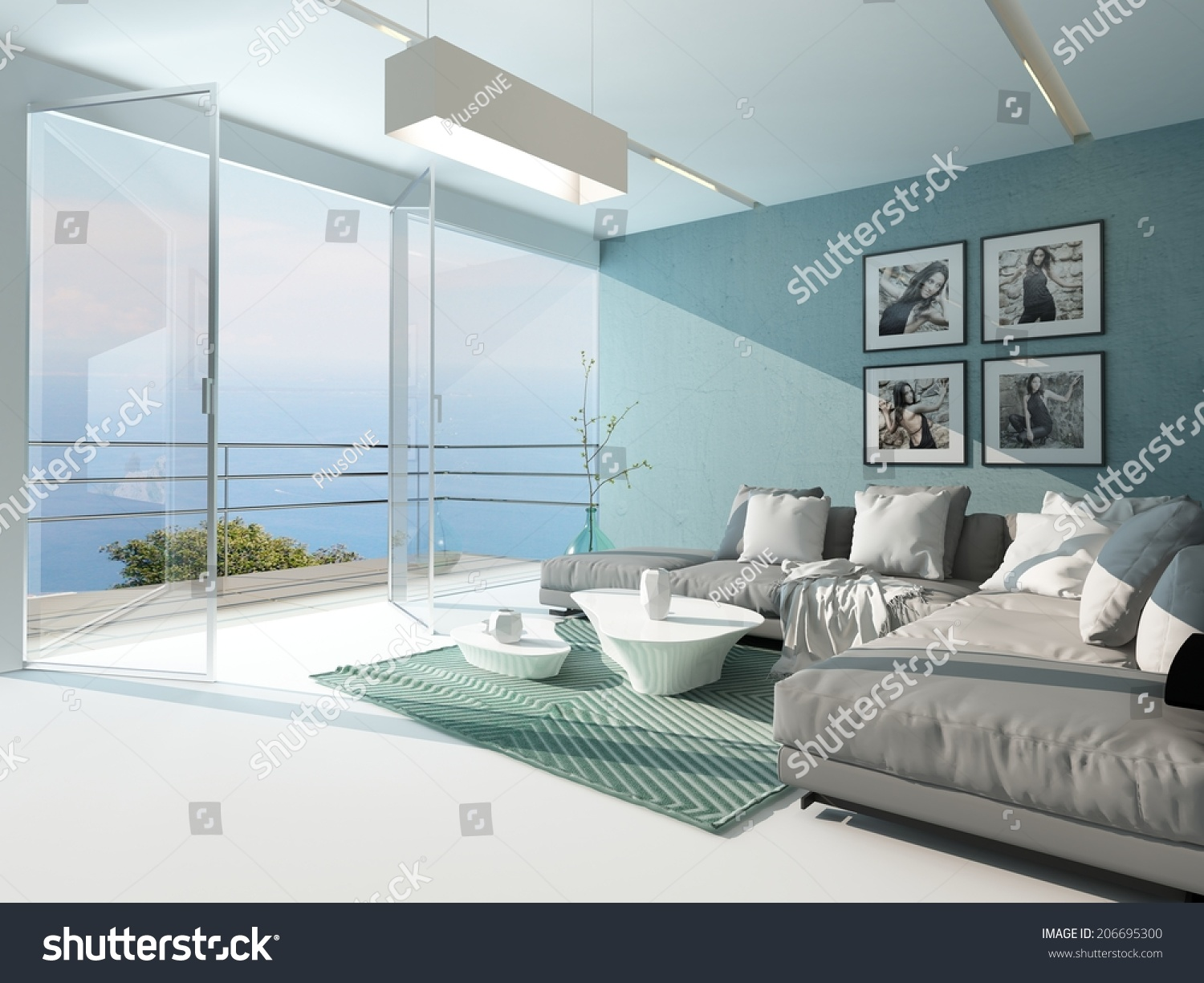 Ocean Living Room Luxury Waterfront Apartment Living Room Floortoceiling Stock