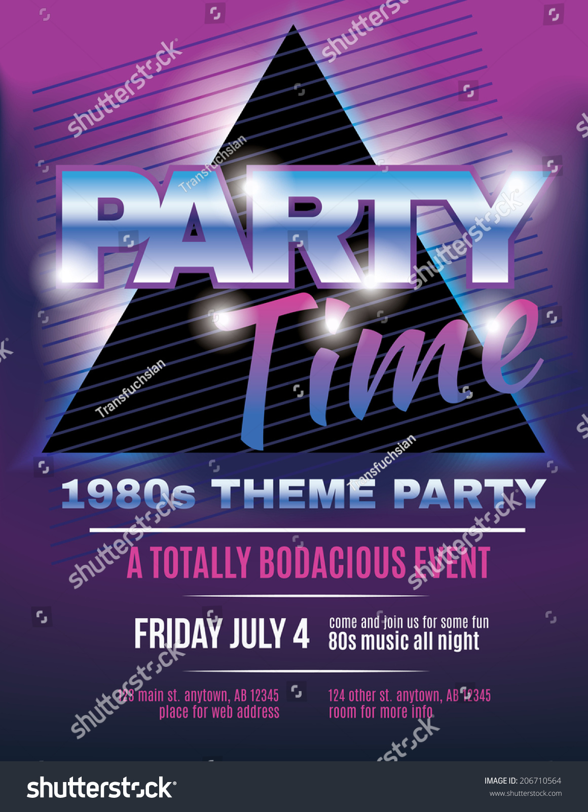 Funky 1980s Theme Party Flyer Template Stock Vector 206710564 ...