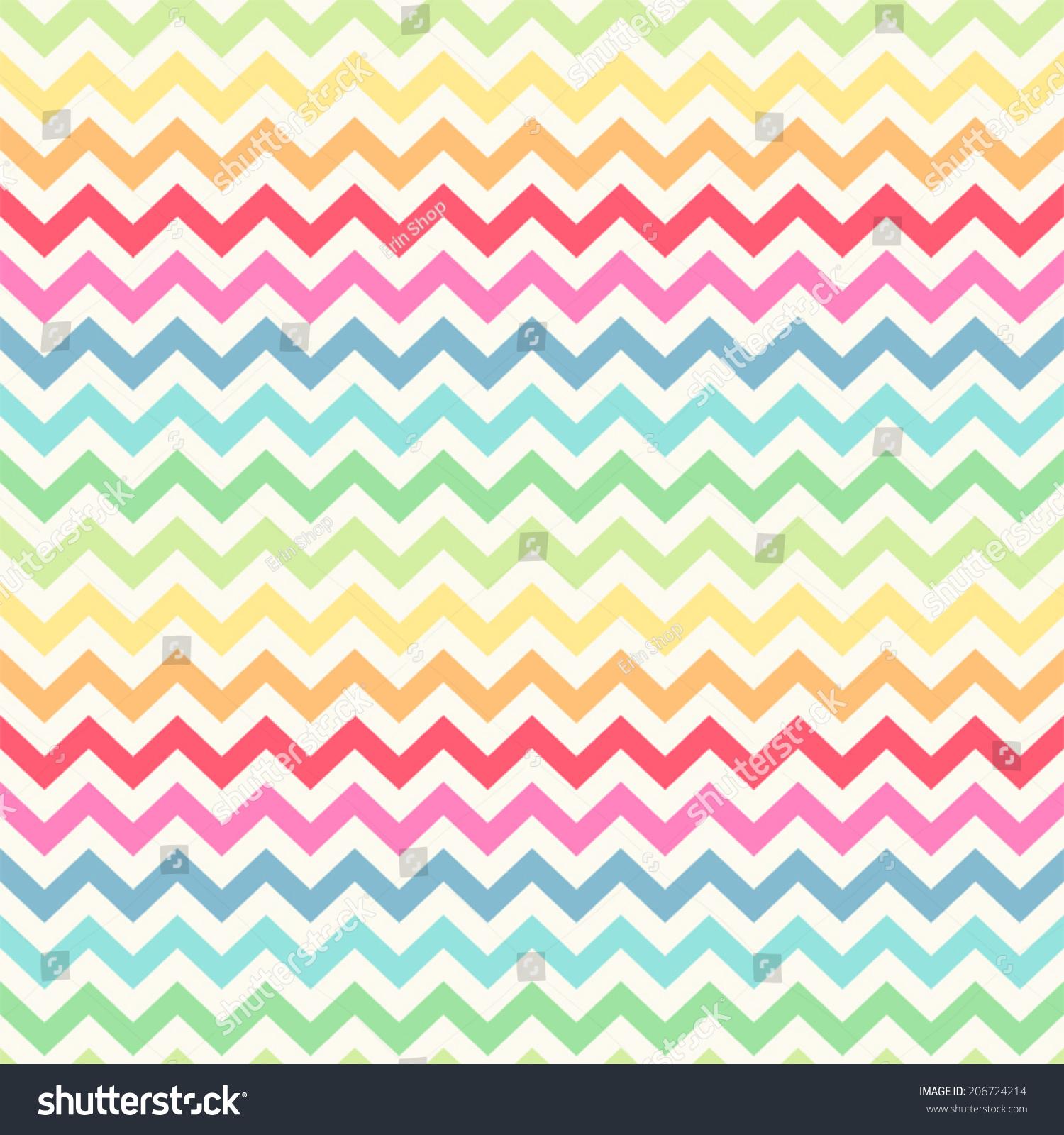Cute Retro Chevron Seamless Pattern Rainbow Stock Vector