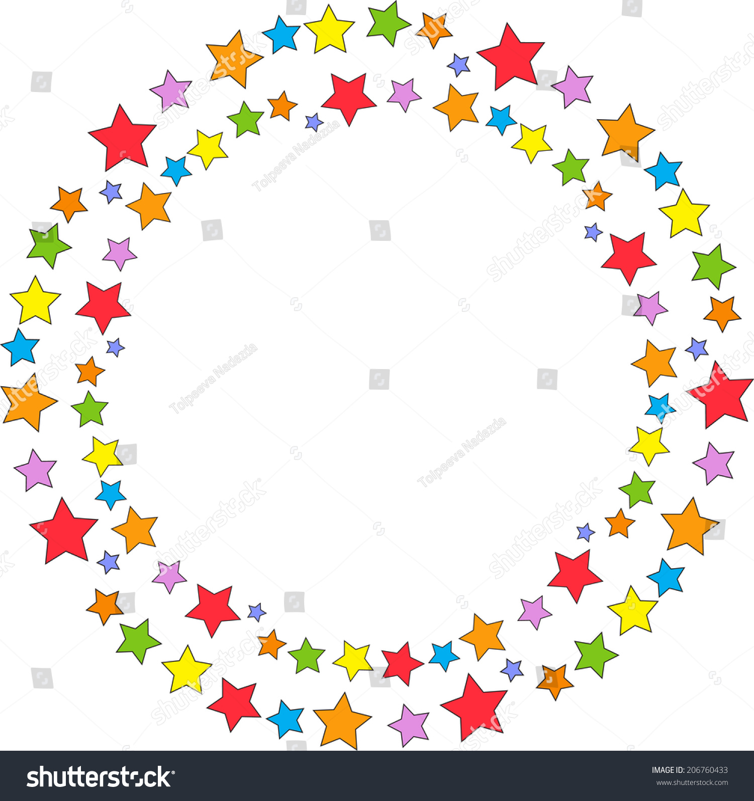 Bright Round Frame Colored Cartoon Stars Stock Vector ...