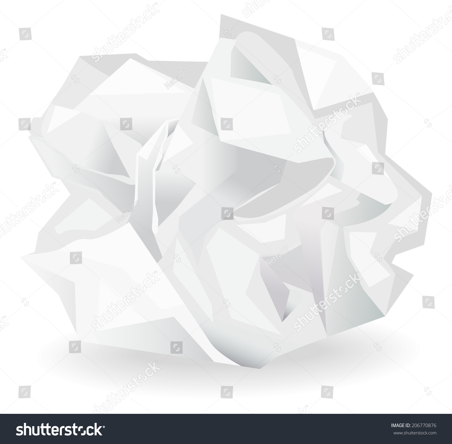 crumpled paper ball vector illustration stock vector (royalty free