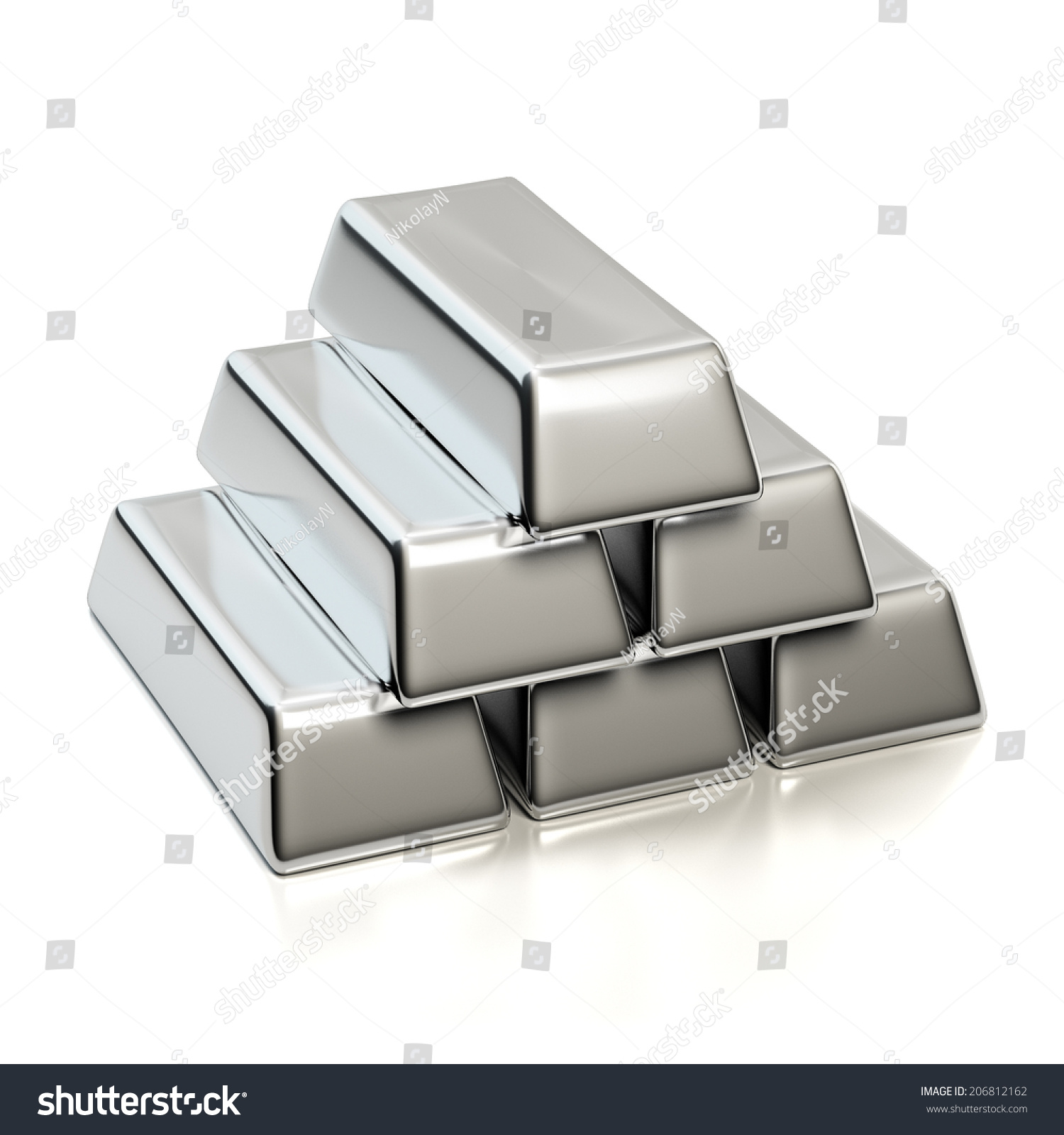 Silver Bullions Isolated On White Pyramid Stock Illustration ...