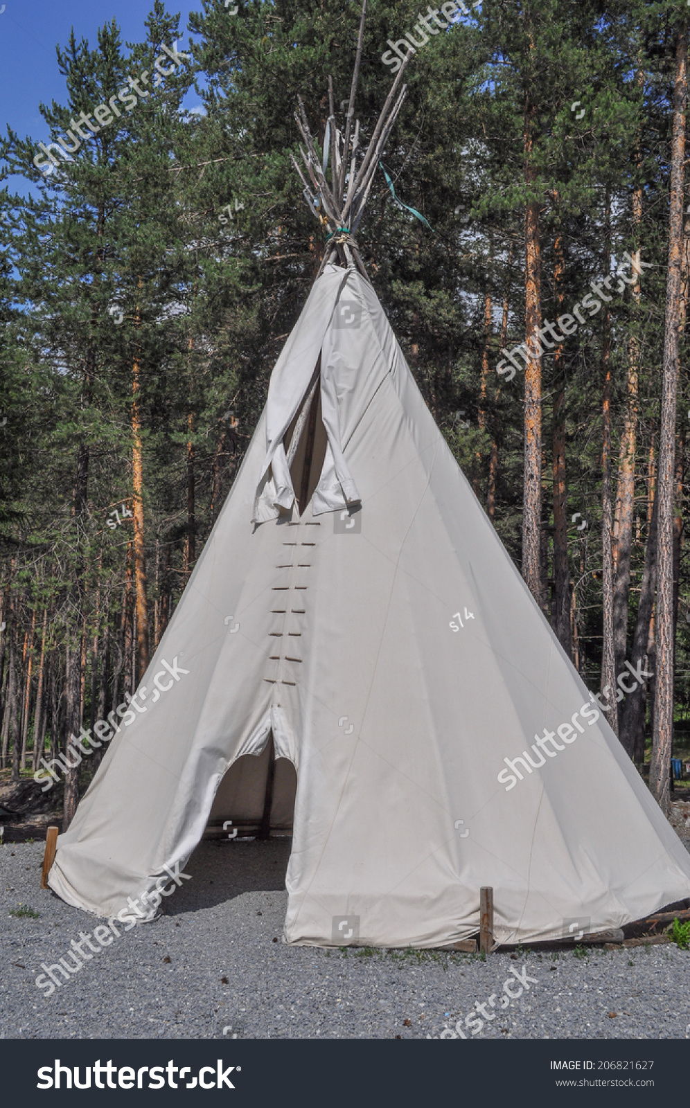 A fabric tent shelter for outdoor c&ing in a pine tree forest & Fabric Tent Shelter Outdoor Camping Pine Stock Photo 206821627 ...