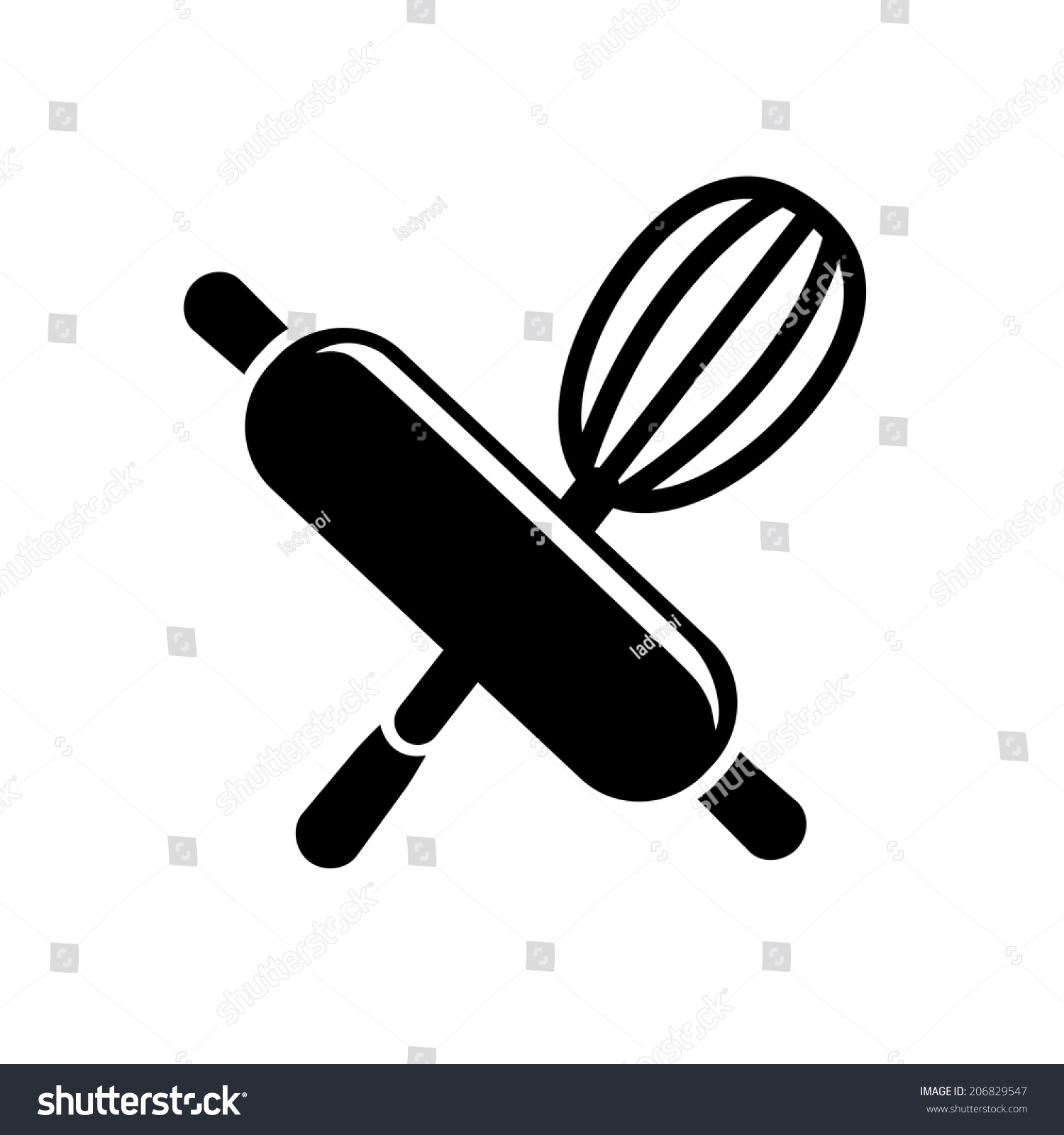 Royalty-free Rolling pin with whisk icon #206829547 Stock Photo ...