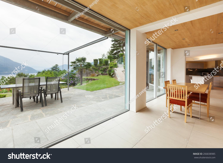 Mountain house modern architecture interior dining room veranda view stock photo 206838985 - Veranda dining rooms ...