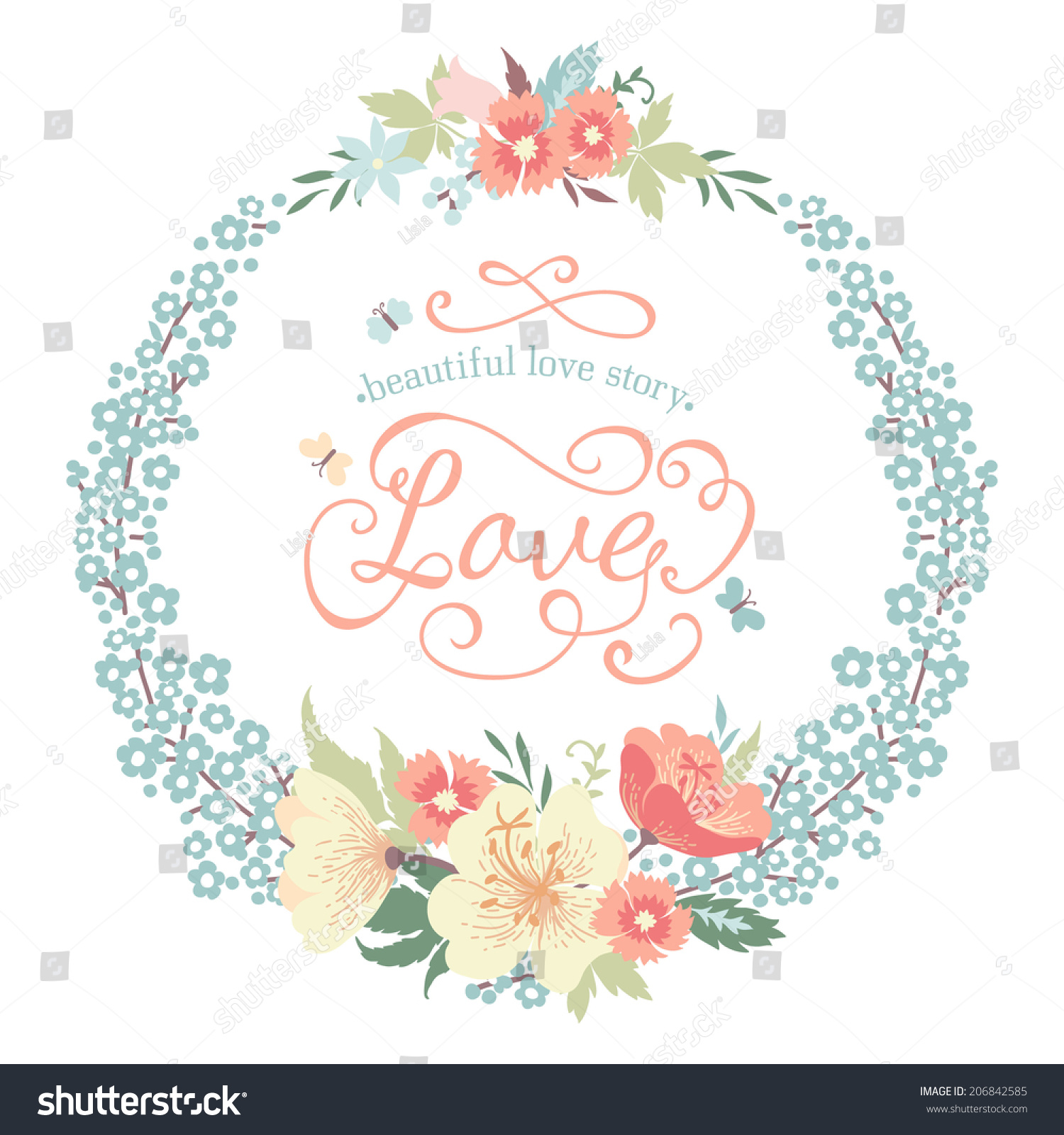 Vector round frame with pink flowers on white background in pastel - Wedding Round Floral Frame With Flowers In Pastel Colors Vector Illustration
