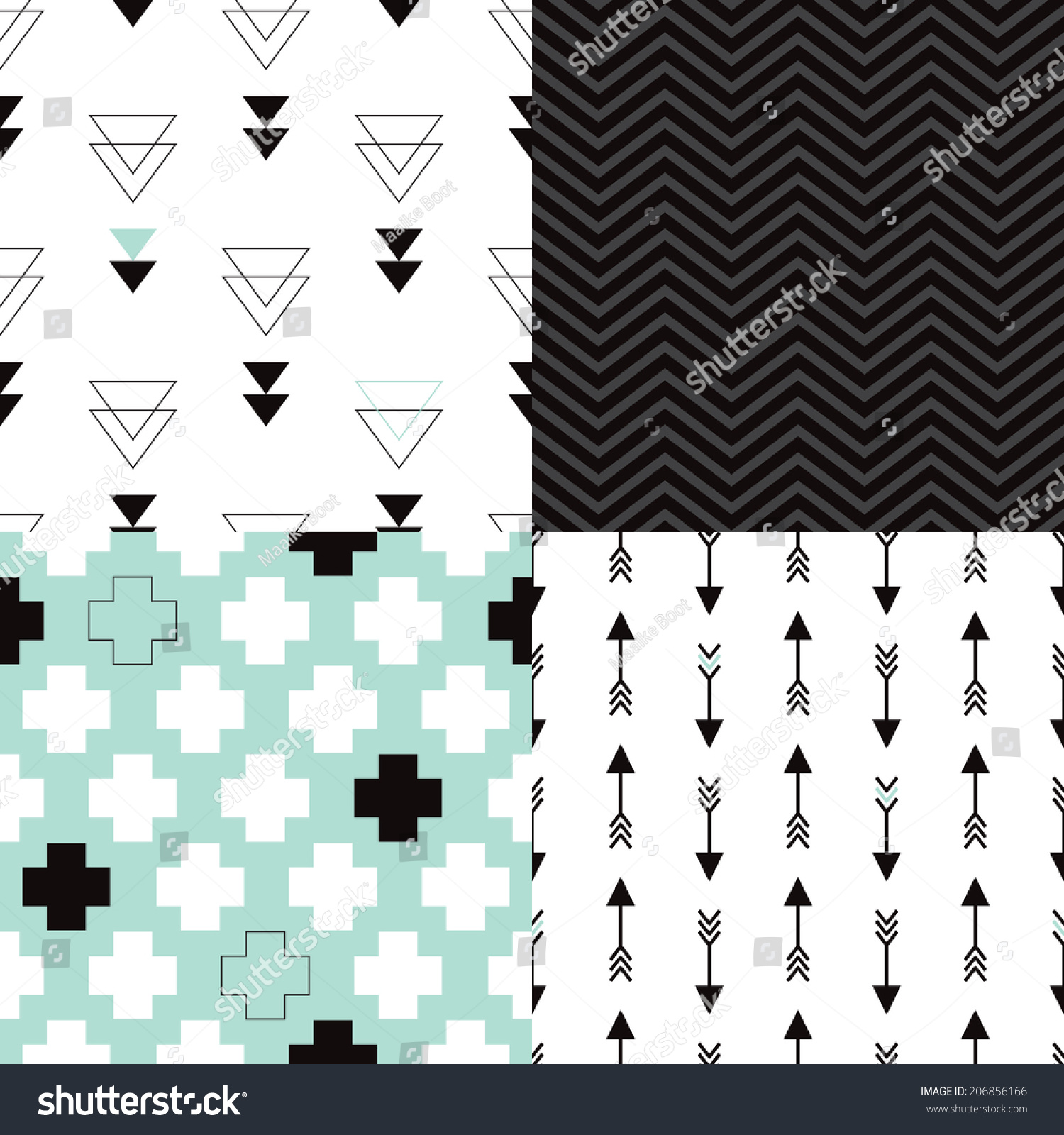Seamless Aztec Geometric Trend Arrow Plus Sign And