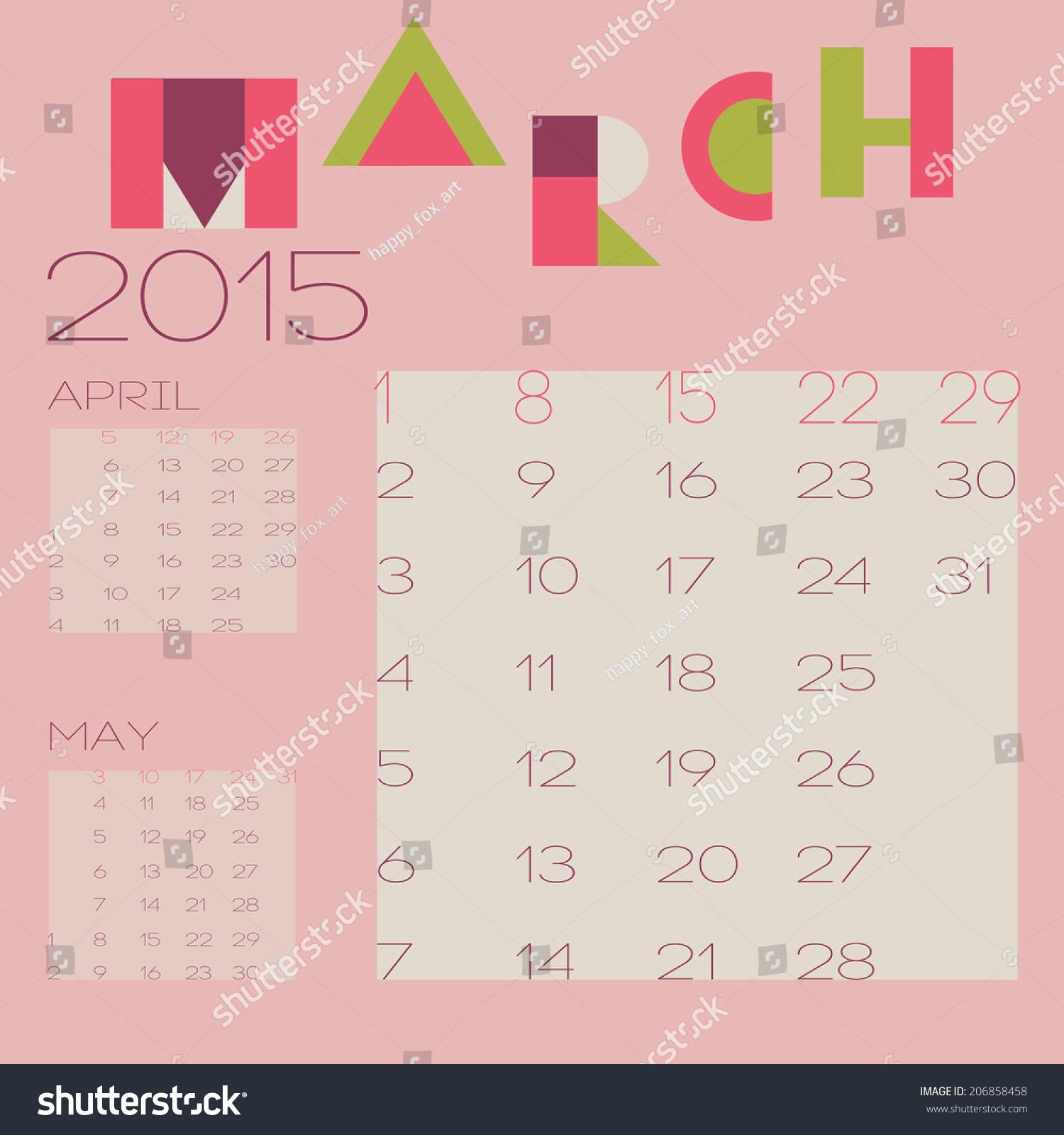 Vector Template 2015 Calendar Design March Stock Vector Royalty