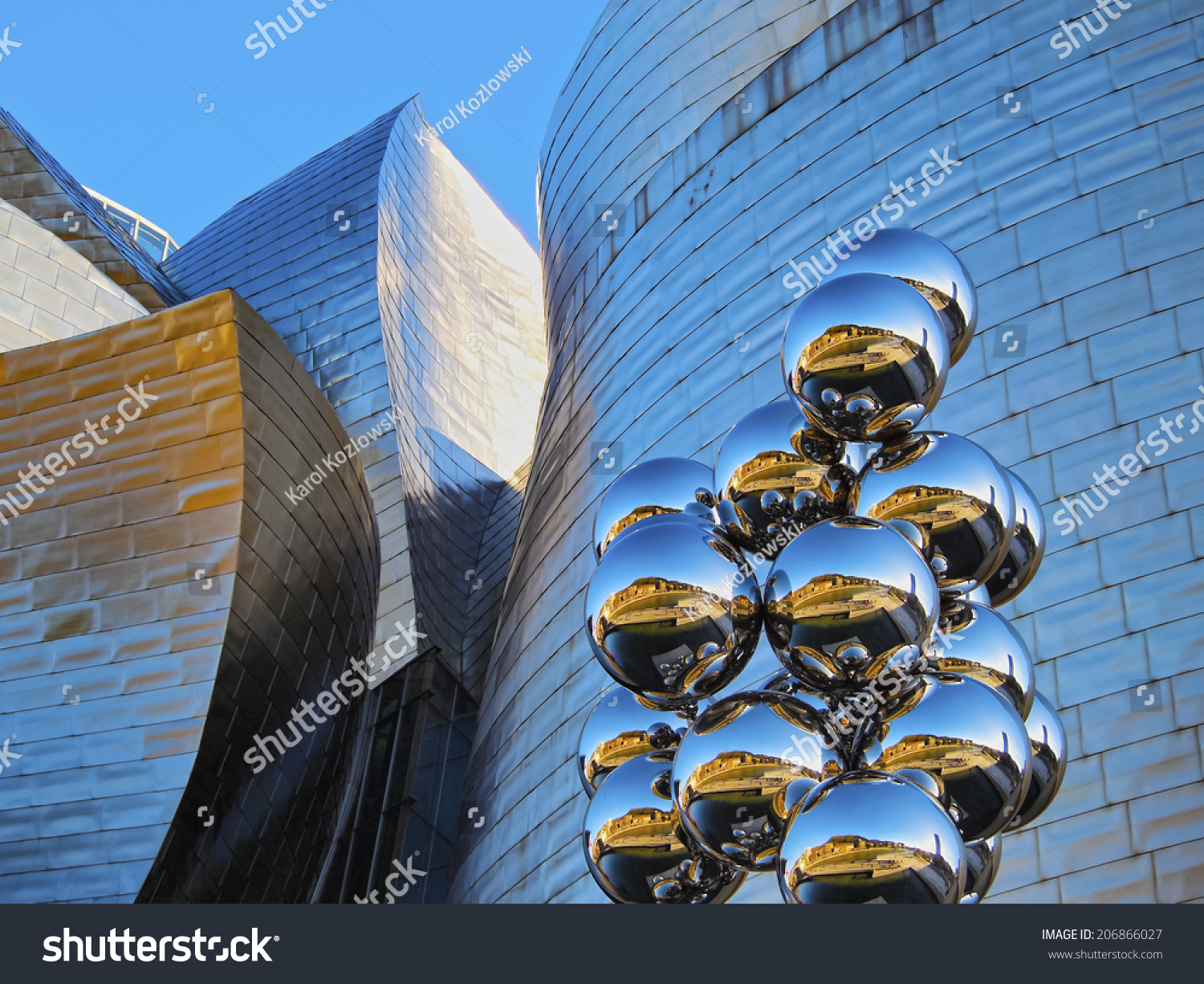 Bilbao spain march sculpture stock photo