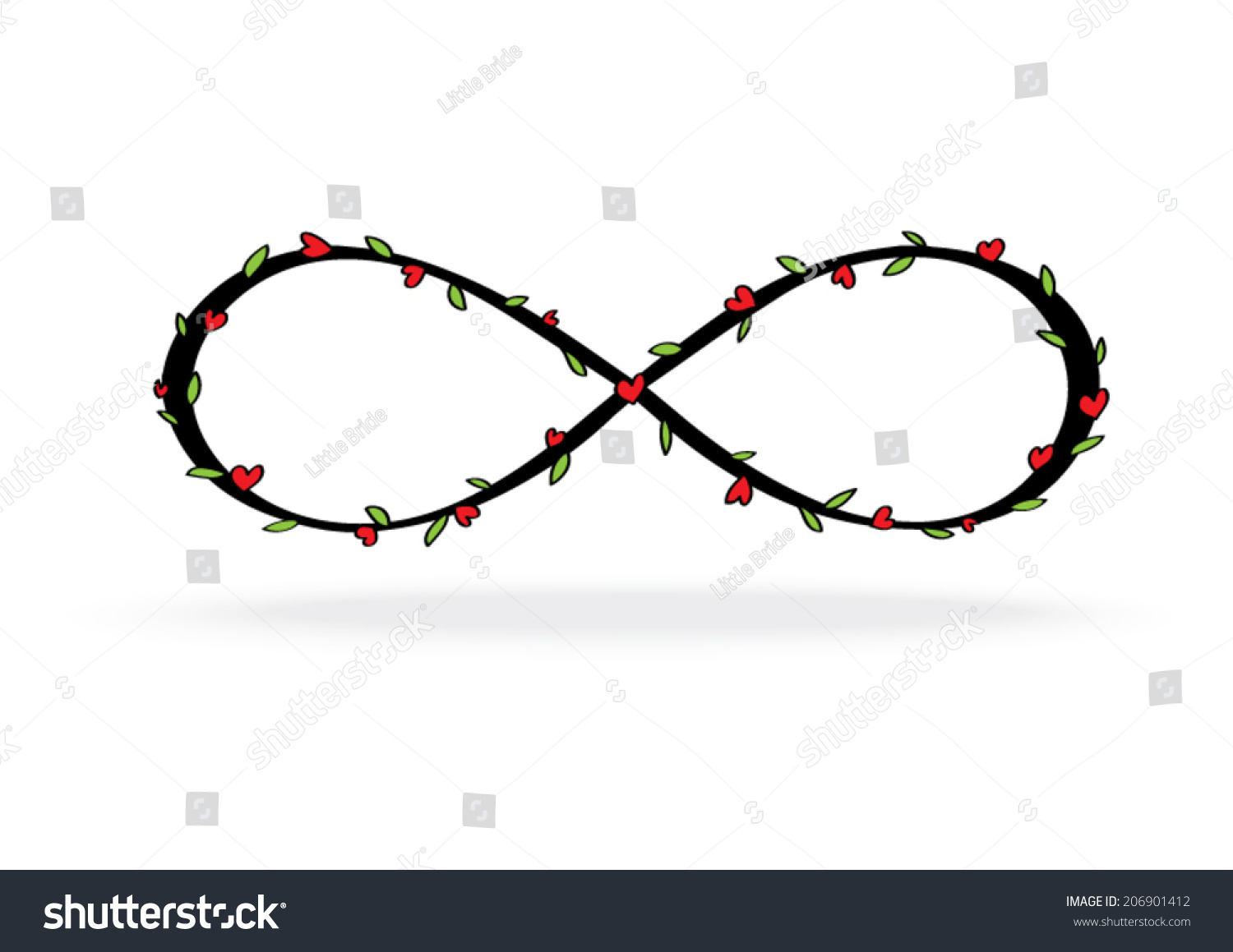 Infinity symbol heart leave stock vector 206901412 shutterstock infinity symbol with heart and leave buycottarizona Gallery