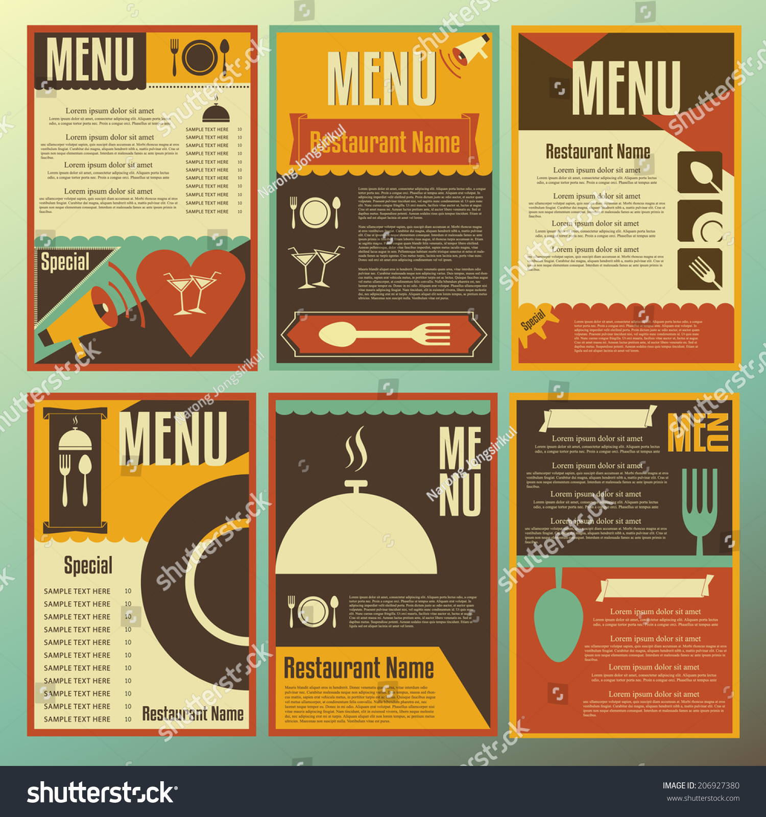 Restaurant menu designs collection of retro style vector