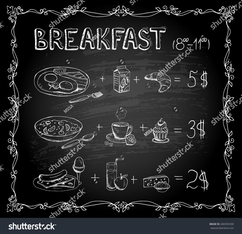 Vector Template Breakfast Chalkboard Menu Vintage Stock Vector ...