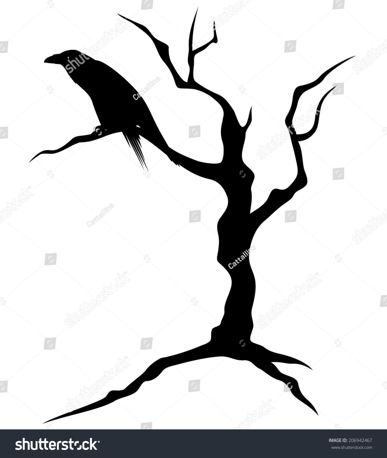 Black Raven Bird Sitting On Bare Stock Vector 206942467