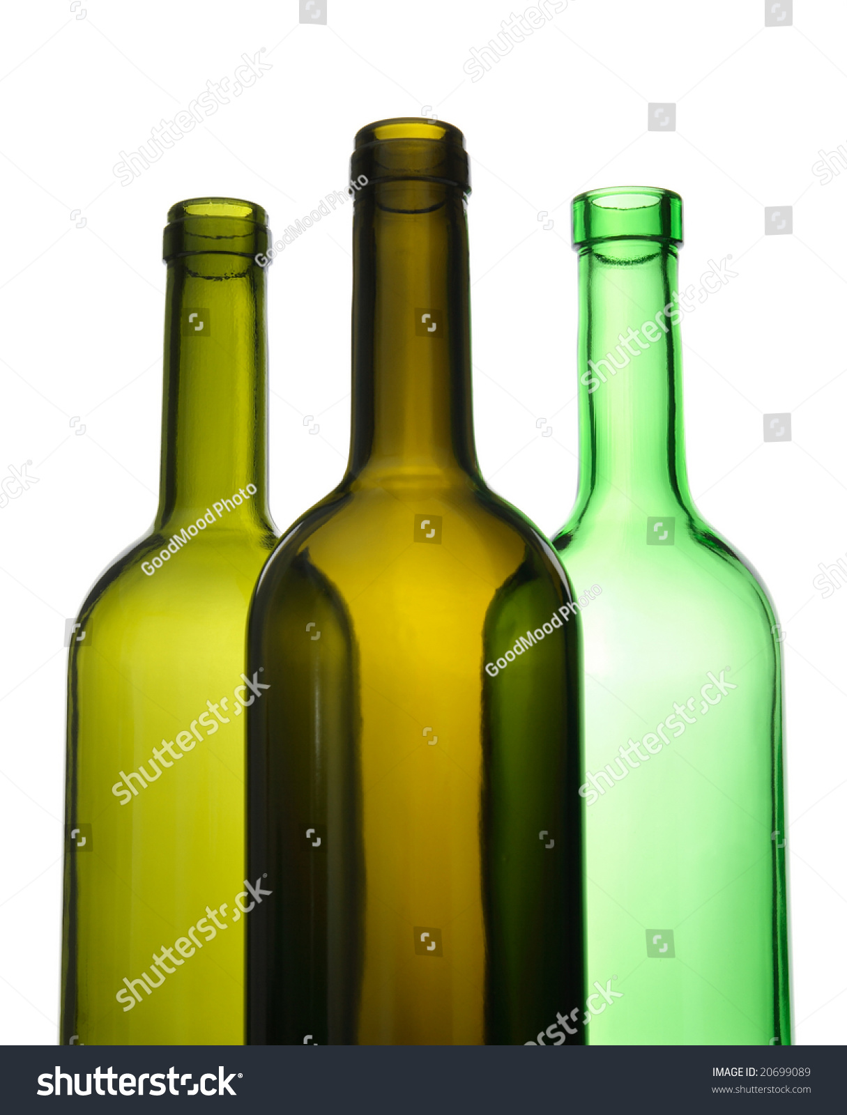 Three empty green wine bottles on white background stock for Green wine bottles