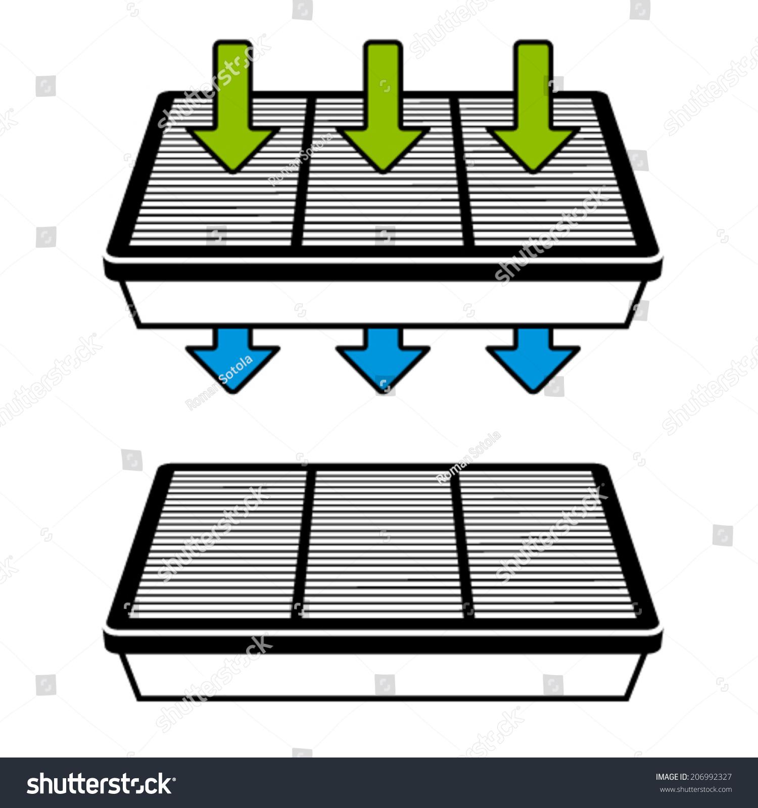 Vector Air Filter Flow Symbols Stock Vector Royalty Free 206992327