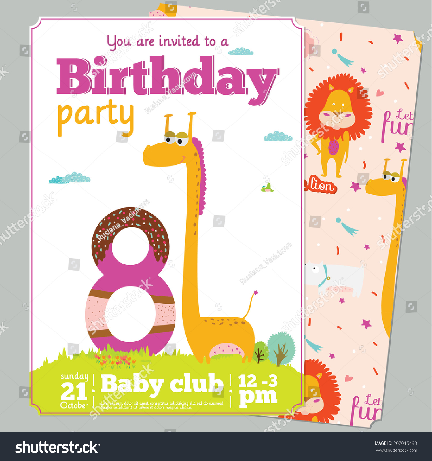 Unusual Vector Invitation Happy Birthday Card Stock Vector 207015490 ...