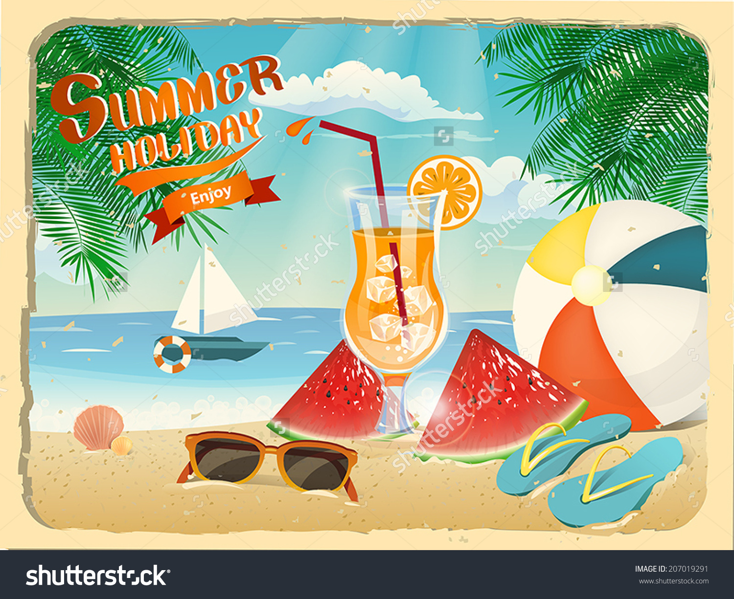 summer holiday poster beach site template stock vector  summer holiday poster of beach site template