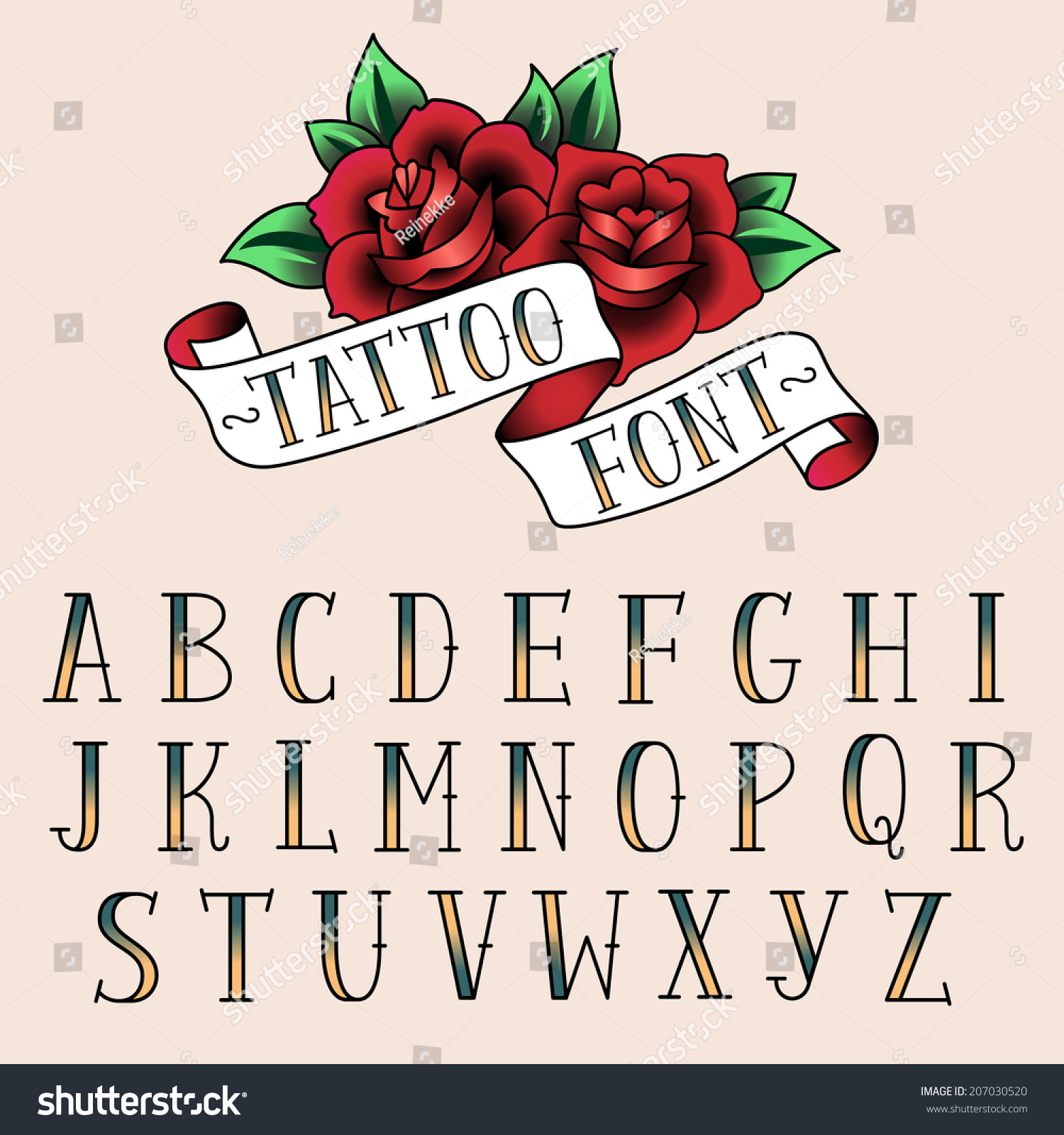 Set Of Tattoo Style Letters Alfabeth For Your Design
