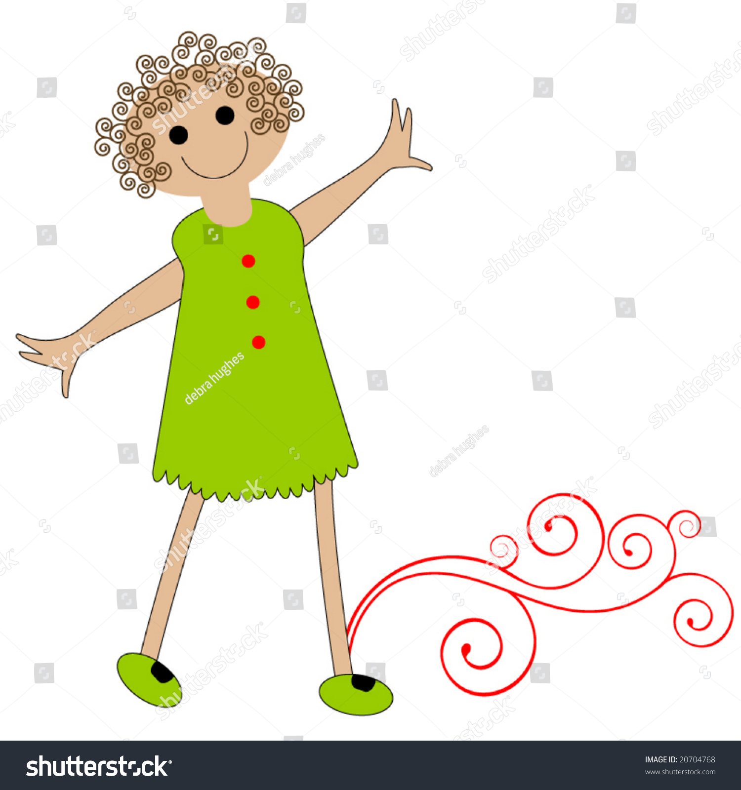 Excellent Happy Cartoon Girl Curly Hair Stock Vector 20704768 Shutterstock Hairstyles For Women Draintrainus