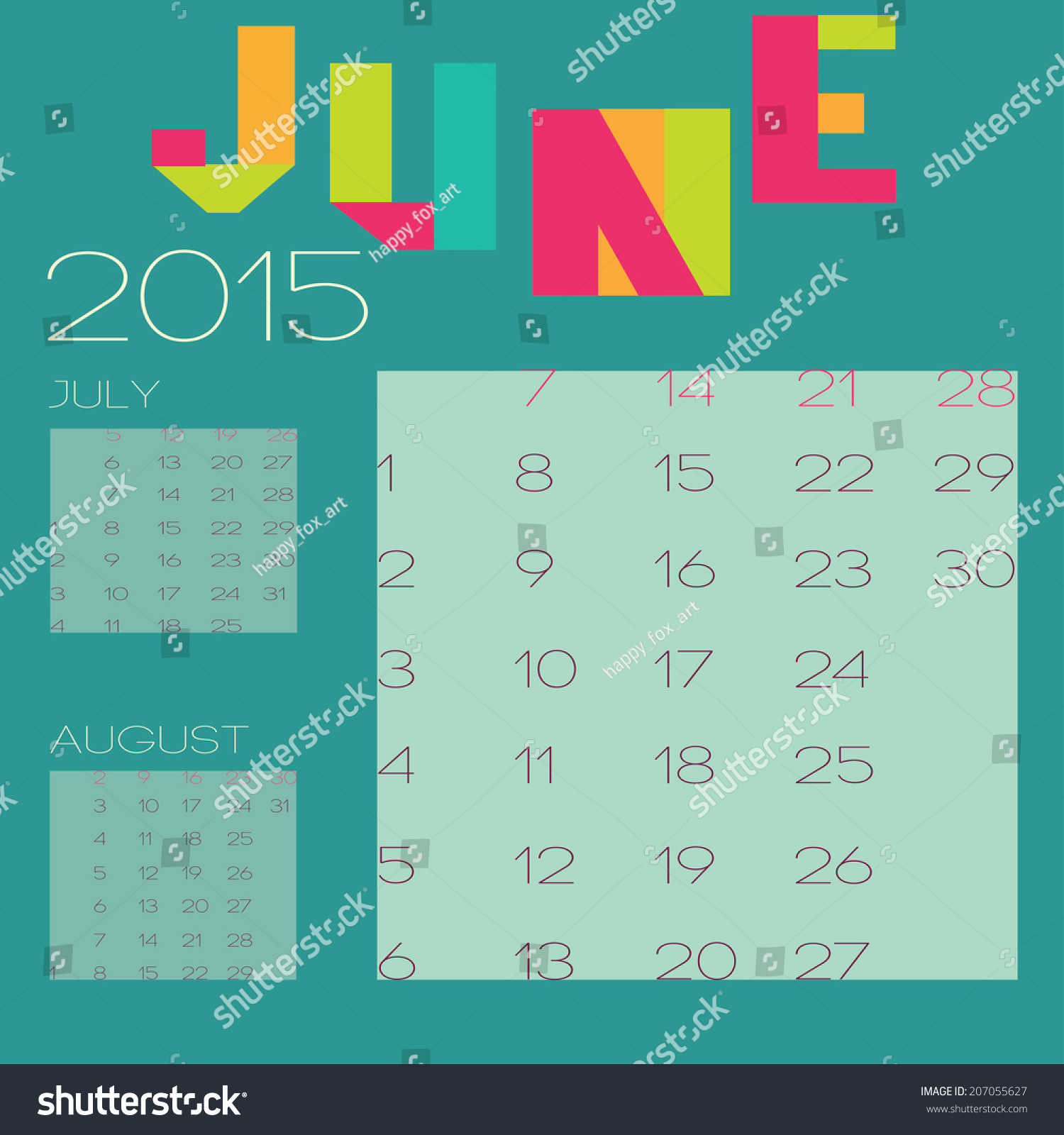 Calendar Design July : Vector template calendar design june stock